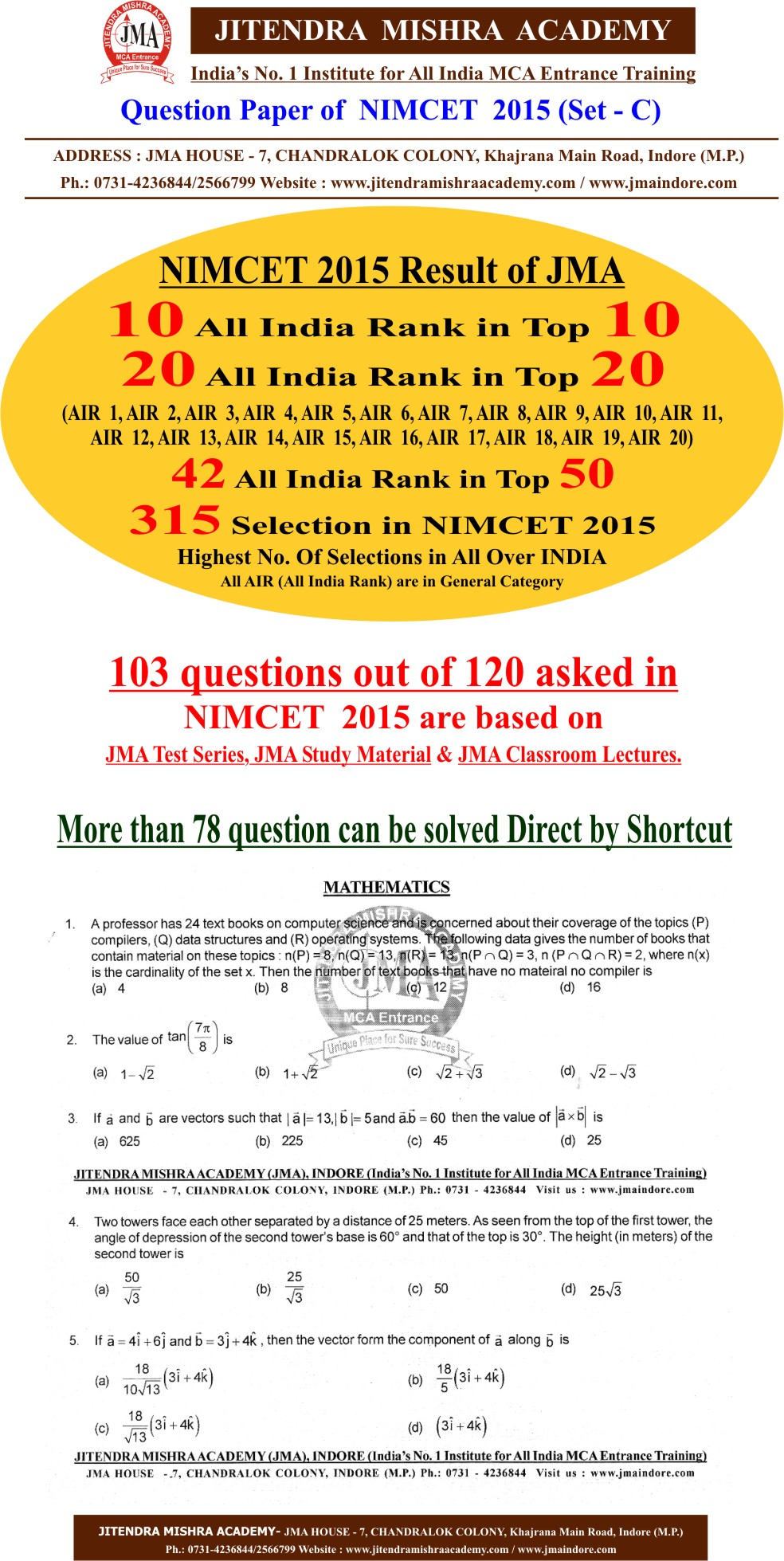 NIMCET 2015 PAPER FIRST PAGE