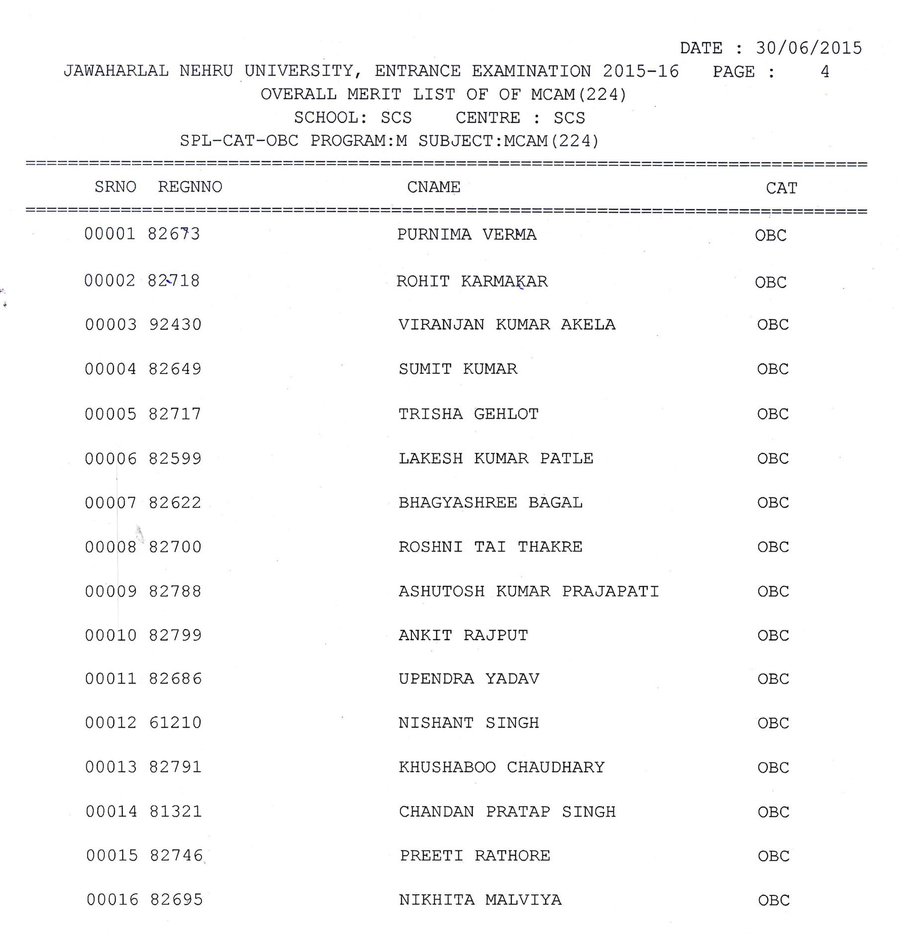 OBC LIST
