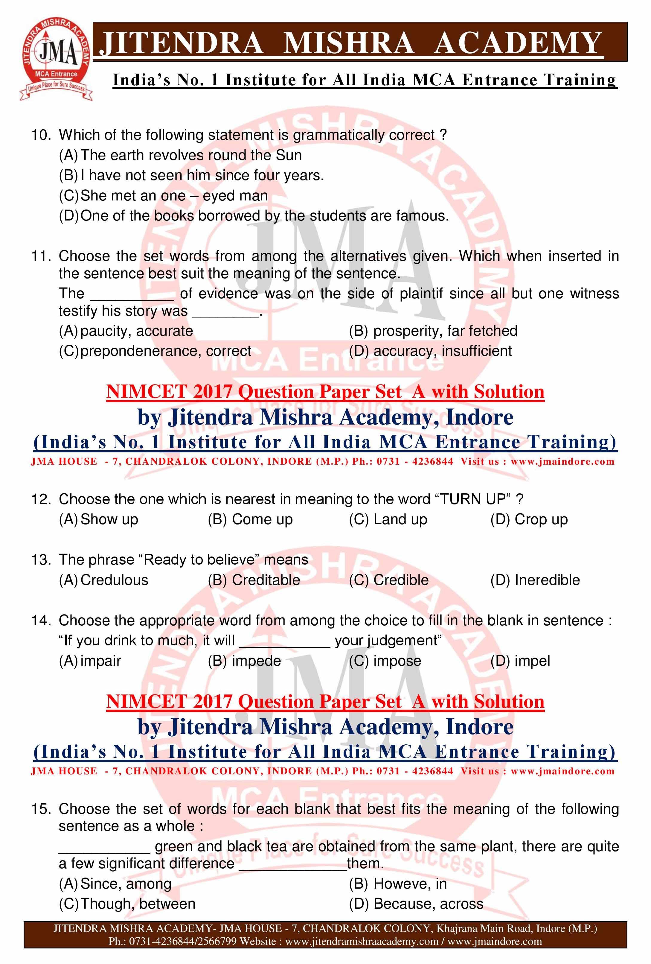 Nimcet Question Papers Pdf