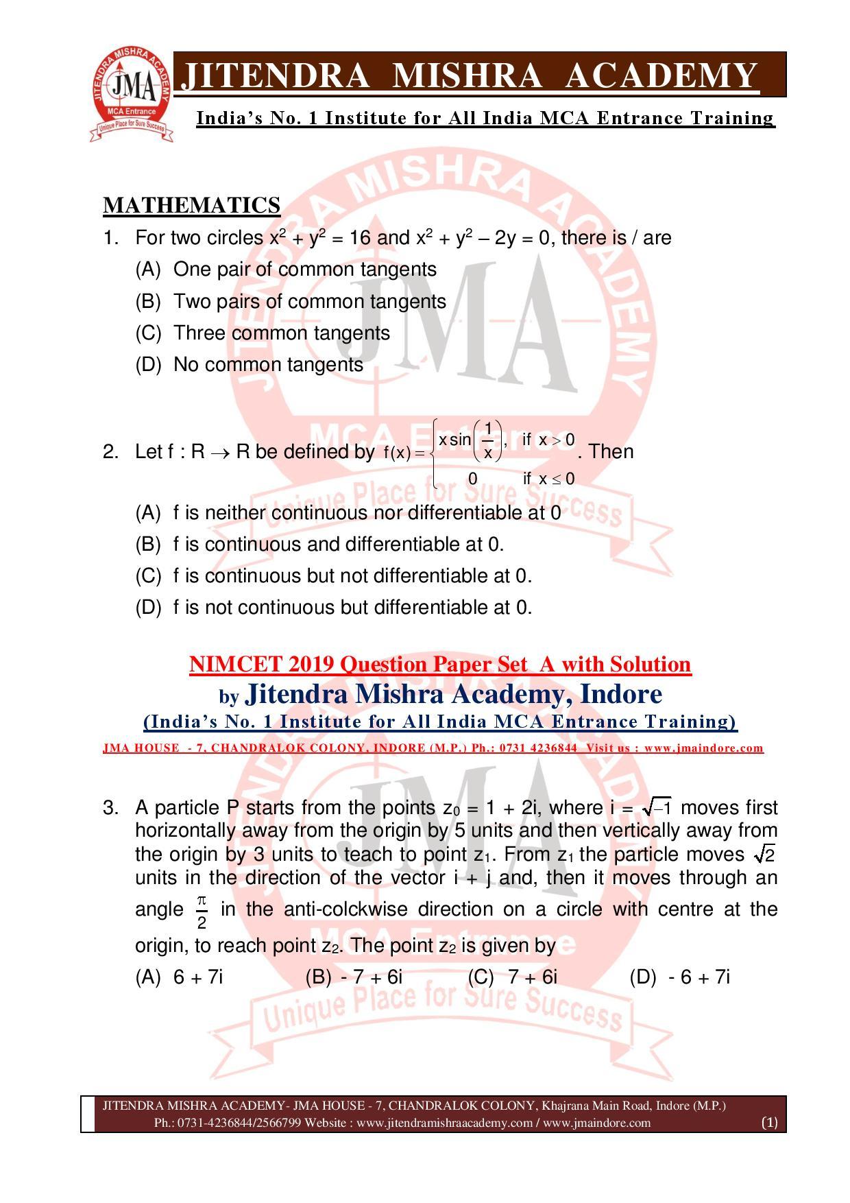 NIMCET 2019 QUESTION PAPER (SET - A) final-page-001