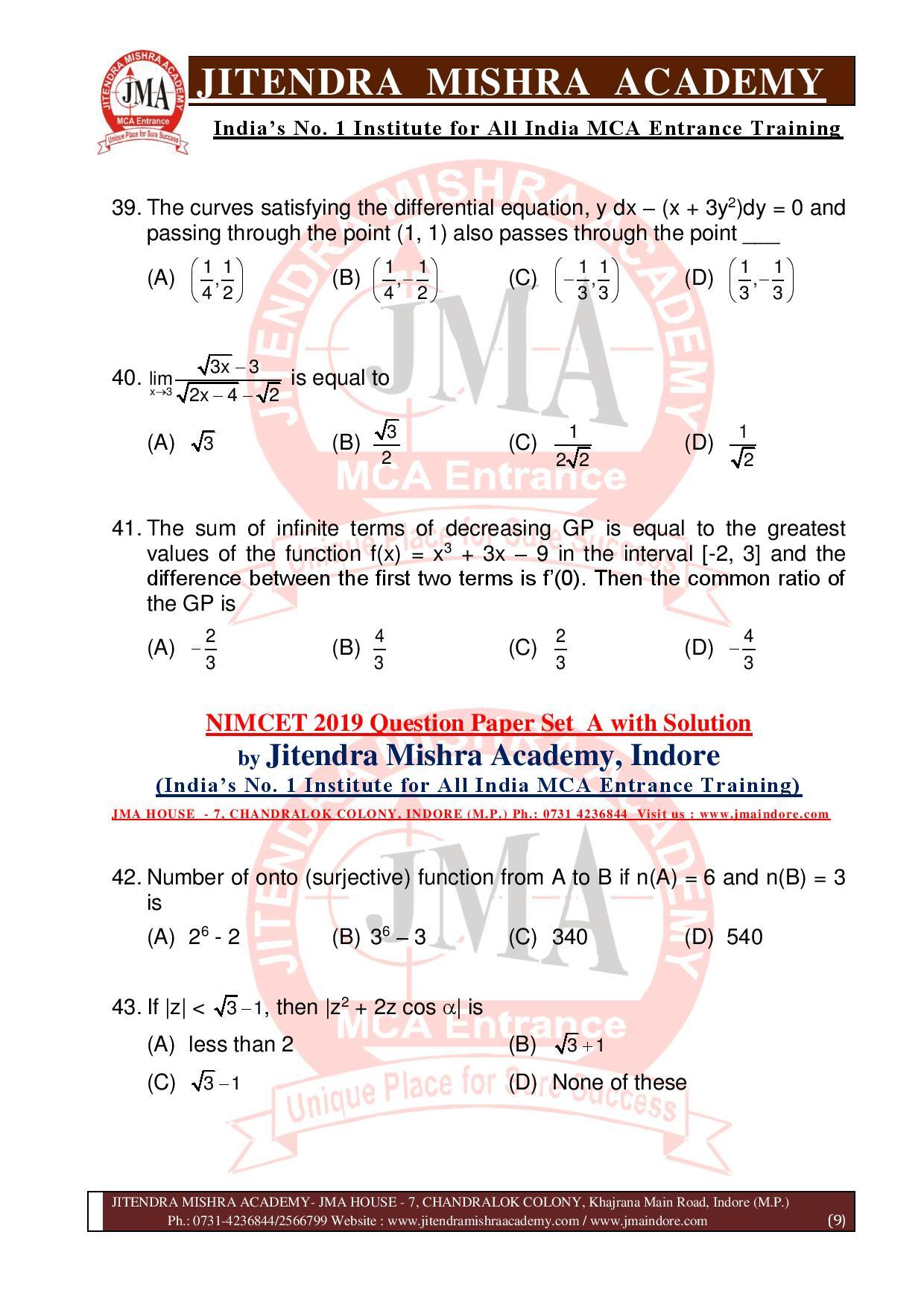 NIMCET 2019 QUESTION PAPER (SET - A) final-page-009