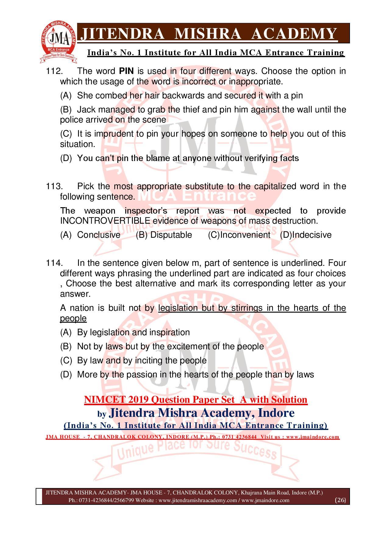 NIMCET 2019 QUESTION PAPER (SET - A) final-page-026