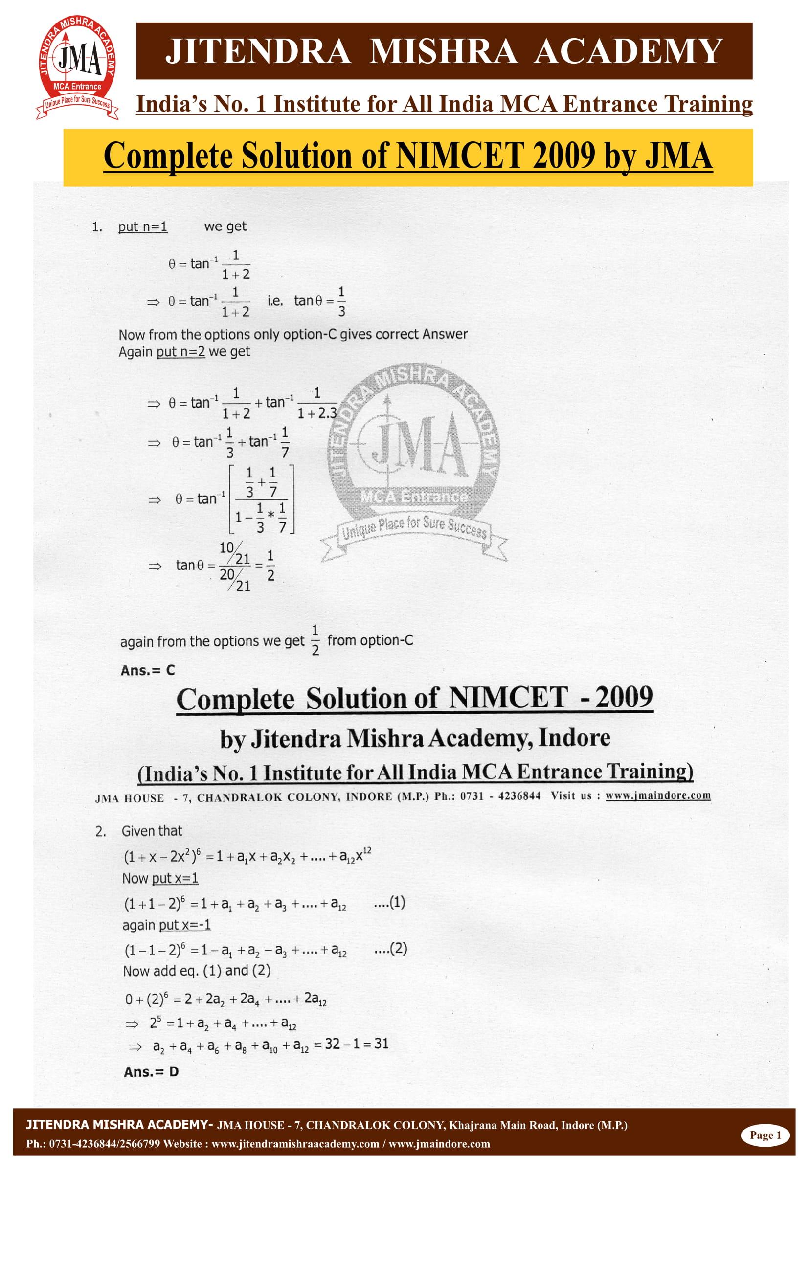 NIMCET - 2009 (SOLUTION)-02