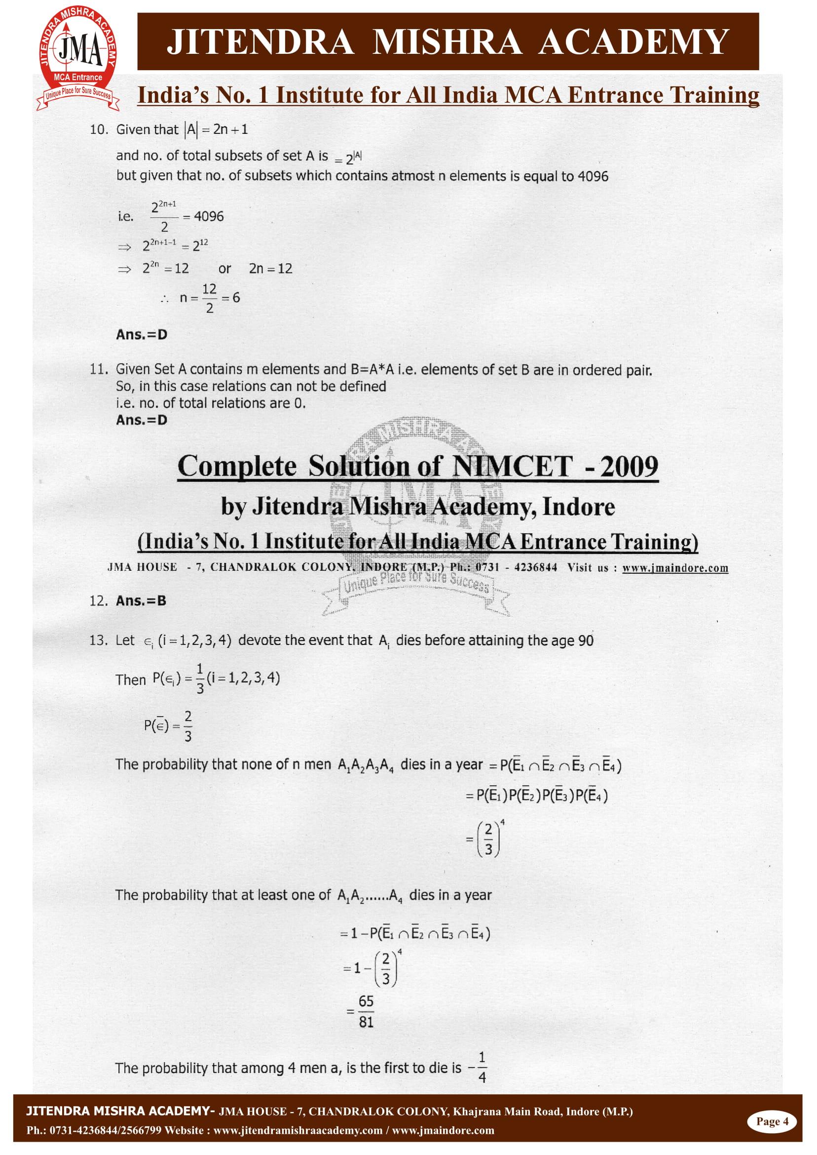 NIMCET - 2009 (SOLUTION)-05