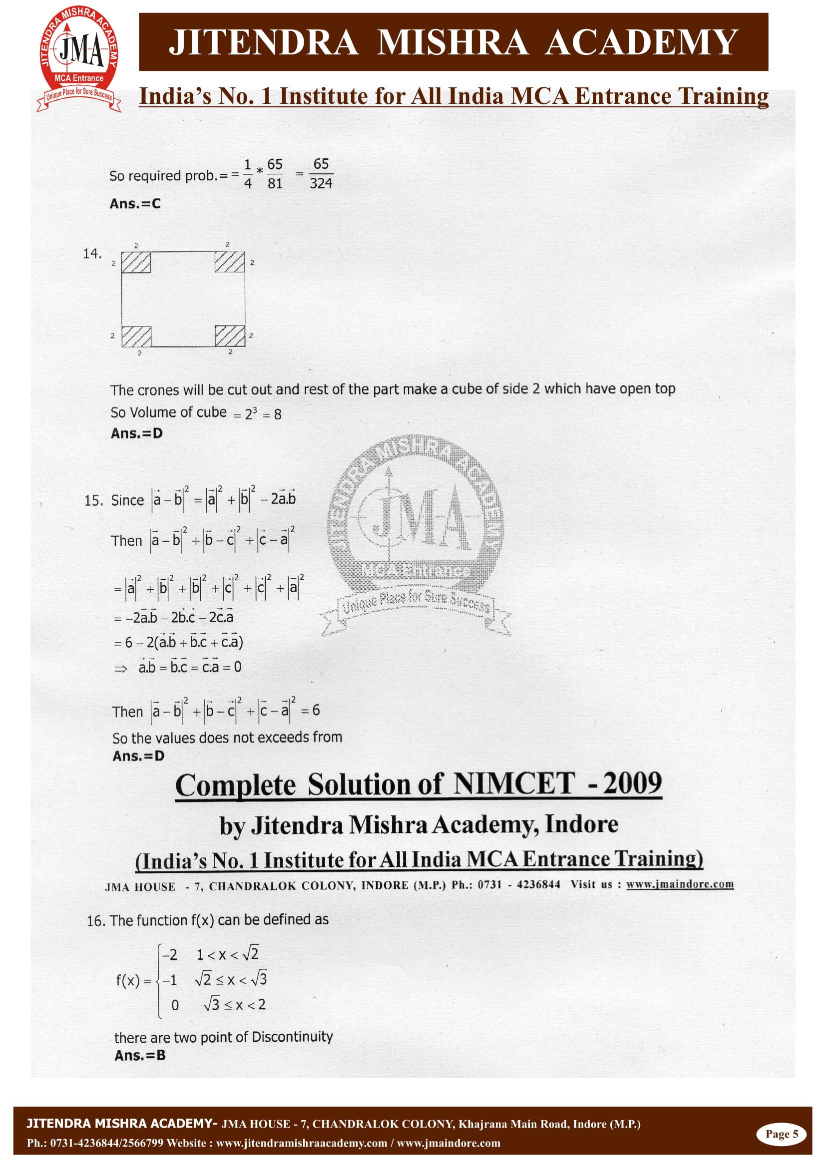 NIMCET - 2009 (SOLUTION)-06