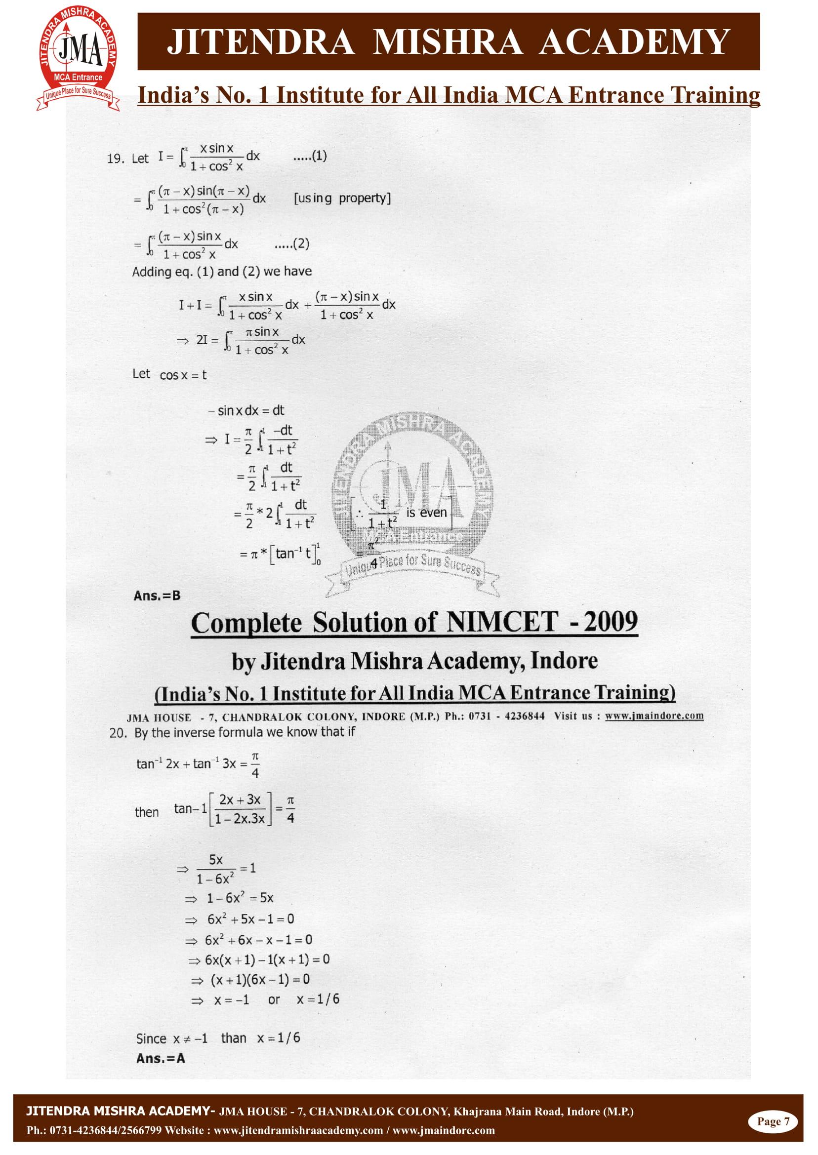 NIMCET - 2009 (SOLUTION)-08