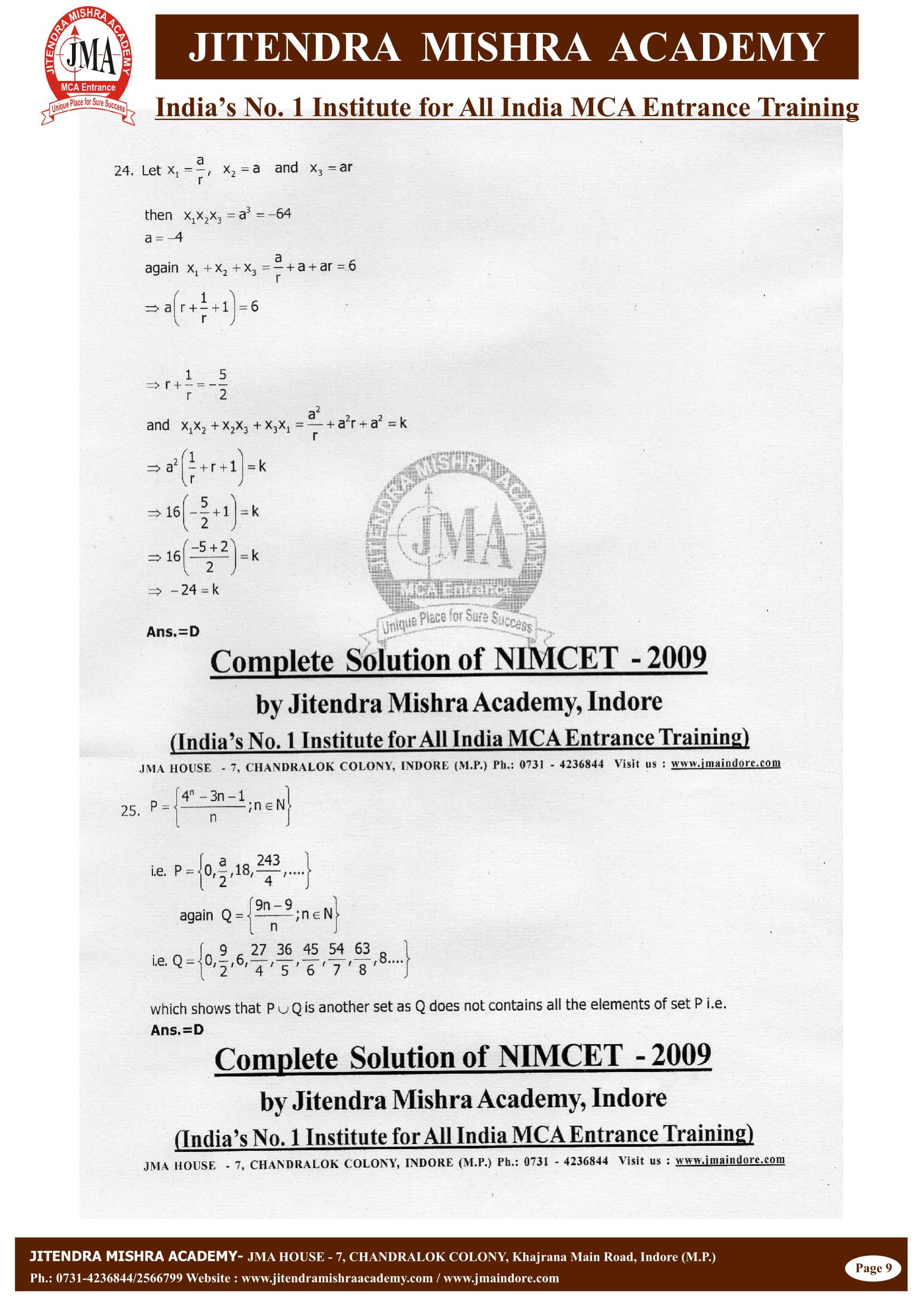 NIMCET - 2009 (SOLUTION)-10