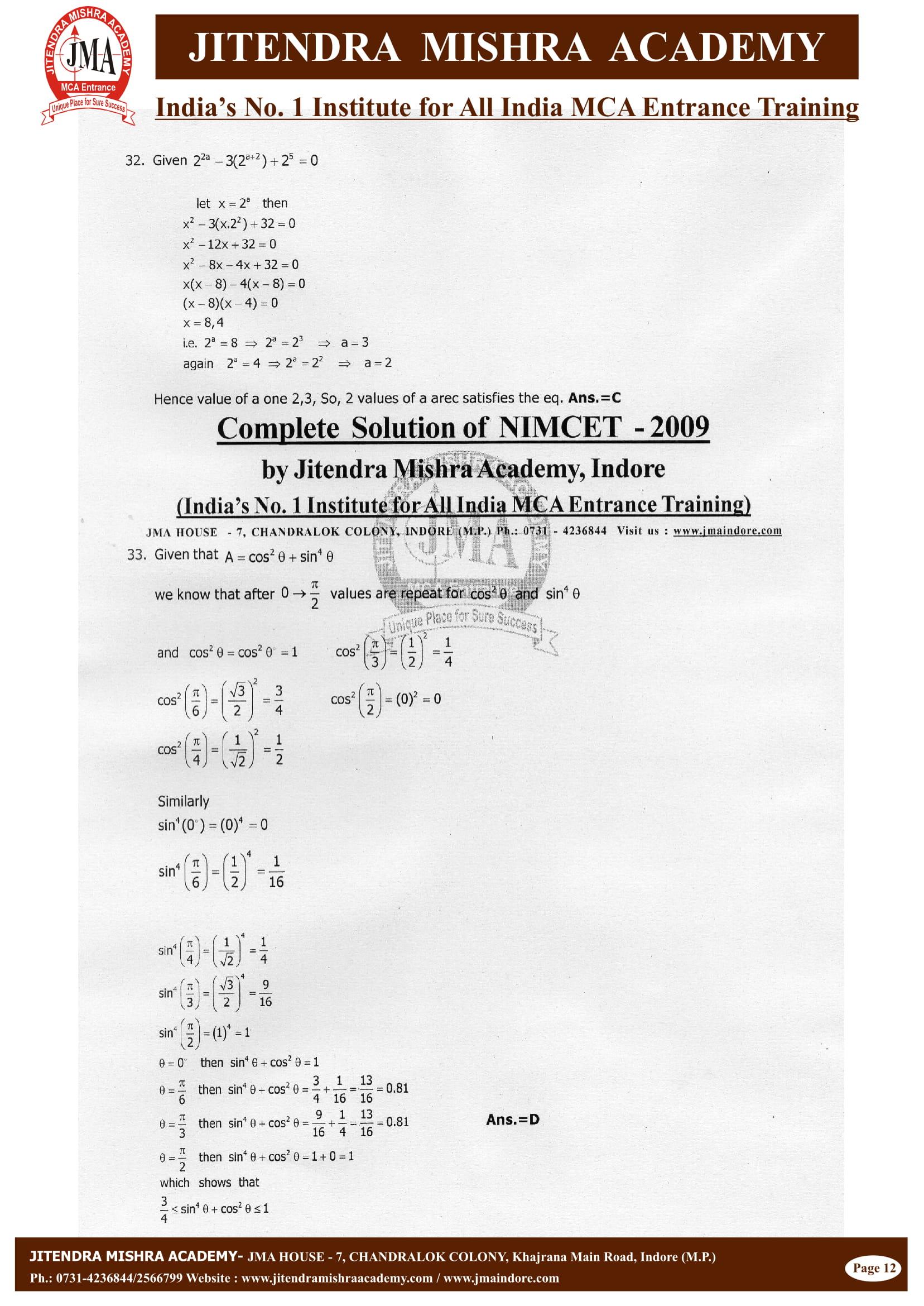 NIMCET - 2009 (SOLUTION)-13