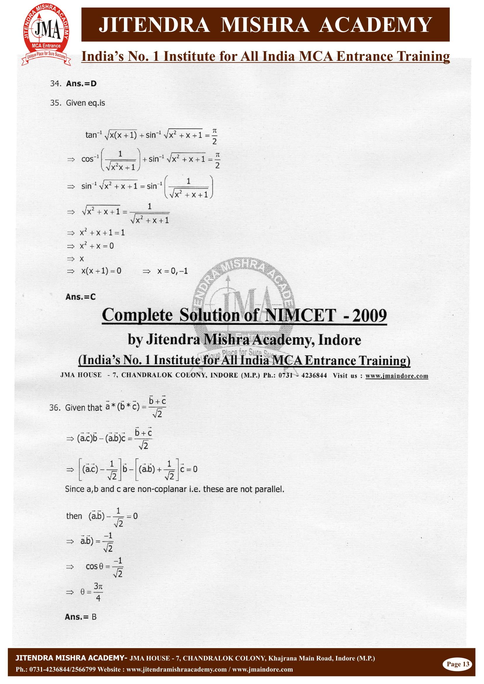 NIMCET - 2009 (SOLUTION)-14