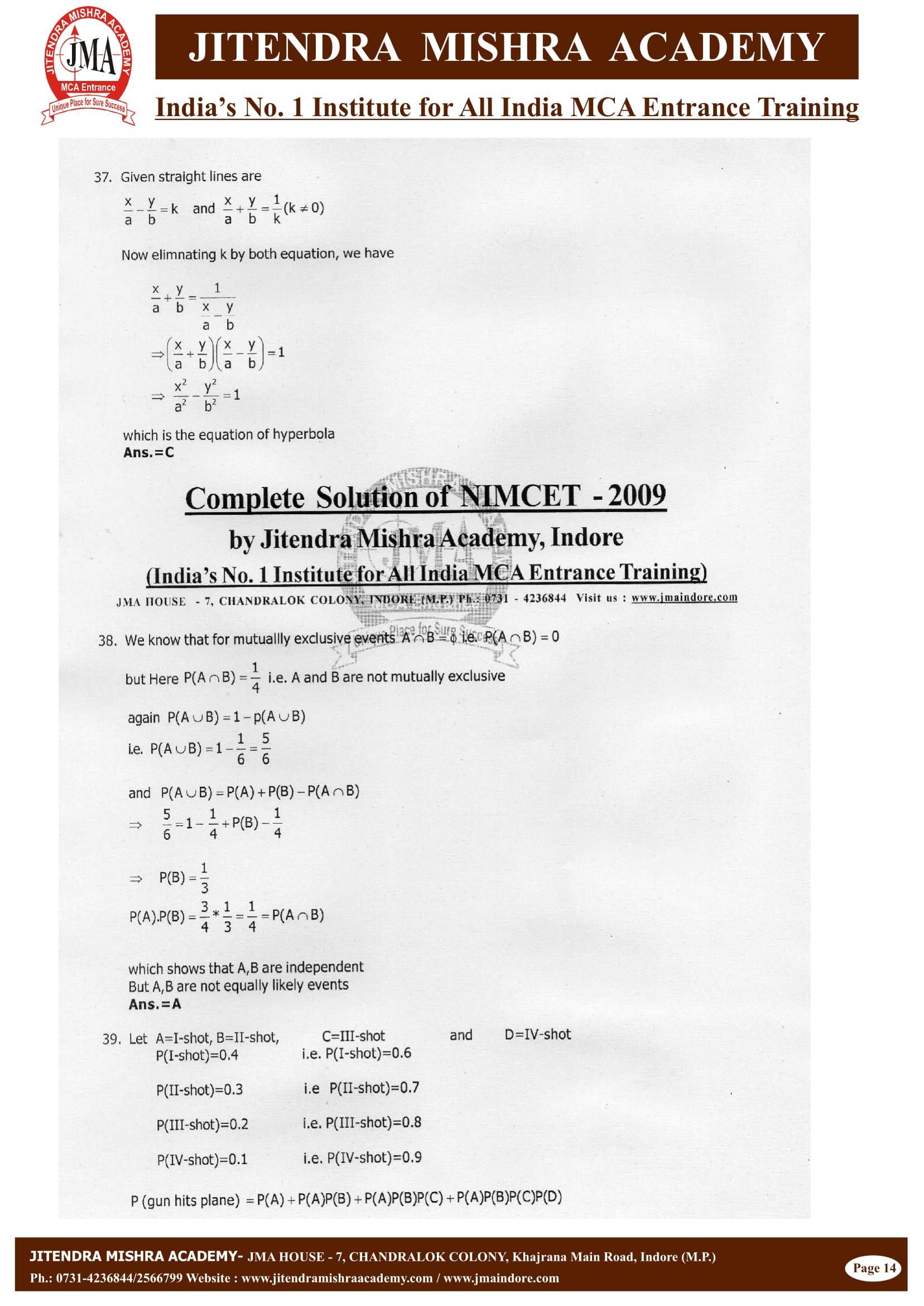 NIMCET - 2009 (SOLUTION)-15