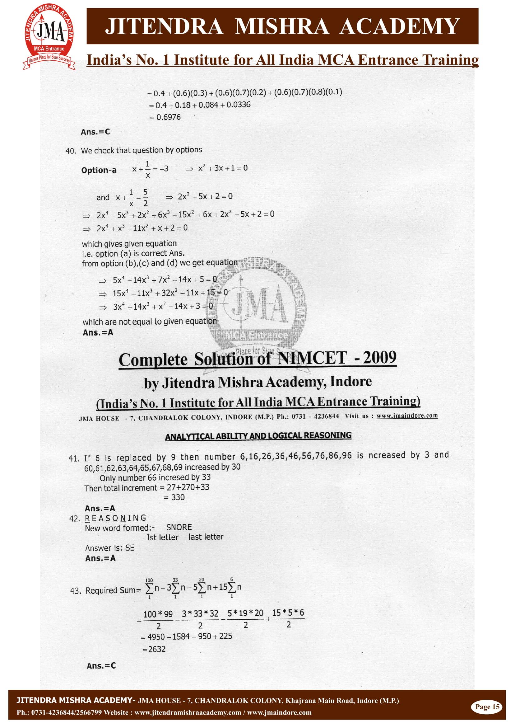 NIMCET - 2009 (SOLUTION)-16