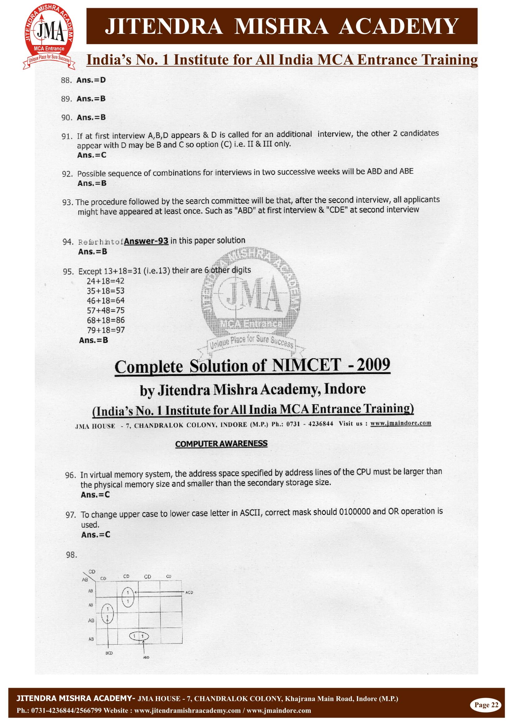 NIMCET - 2009 (SOLUTION)-23