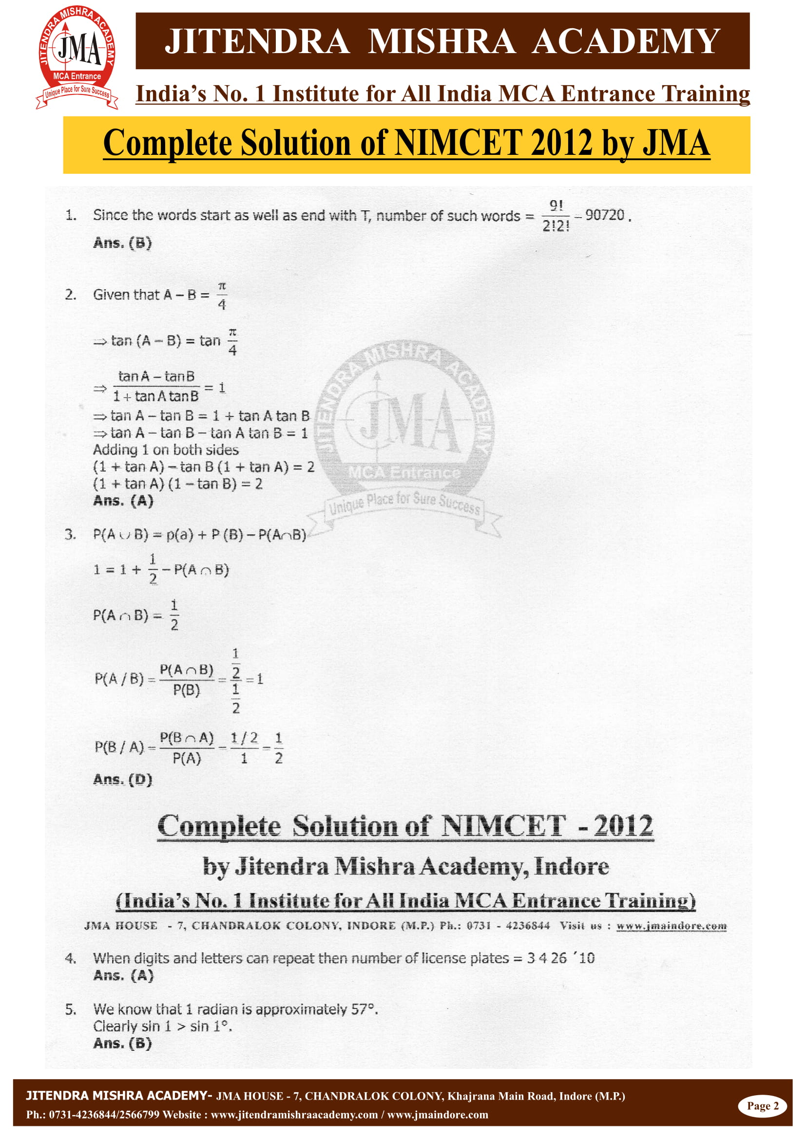 NIMCET - 2012 (SOLUTION)-02