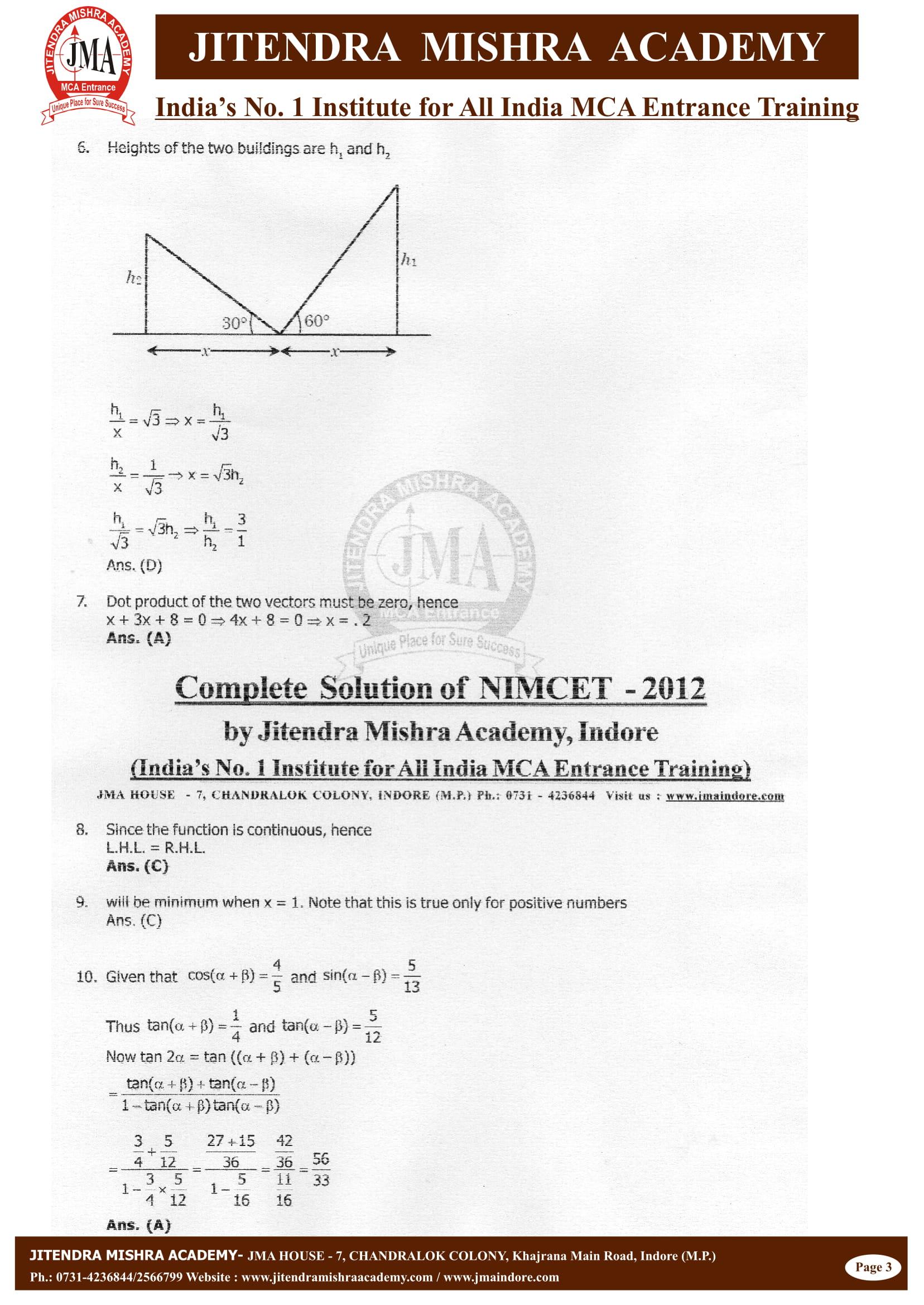 NIMCET - 2012 (SOLUTION)-03