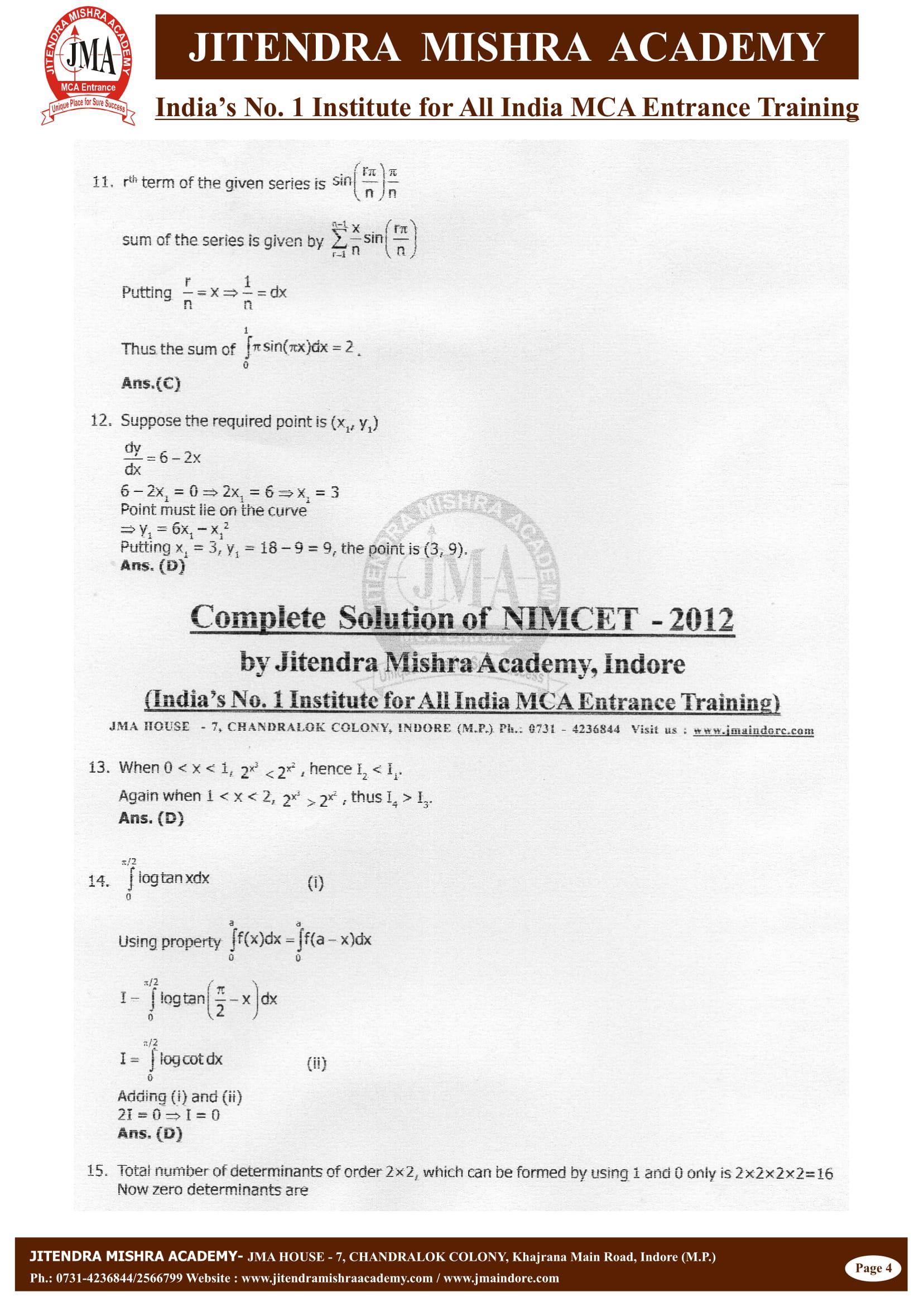 NIMCET - 2012 (SOLUTION)-04