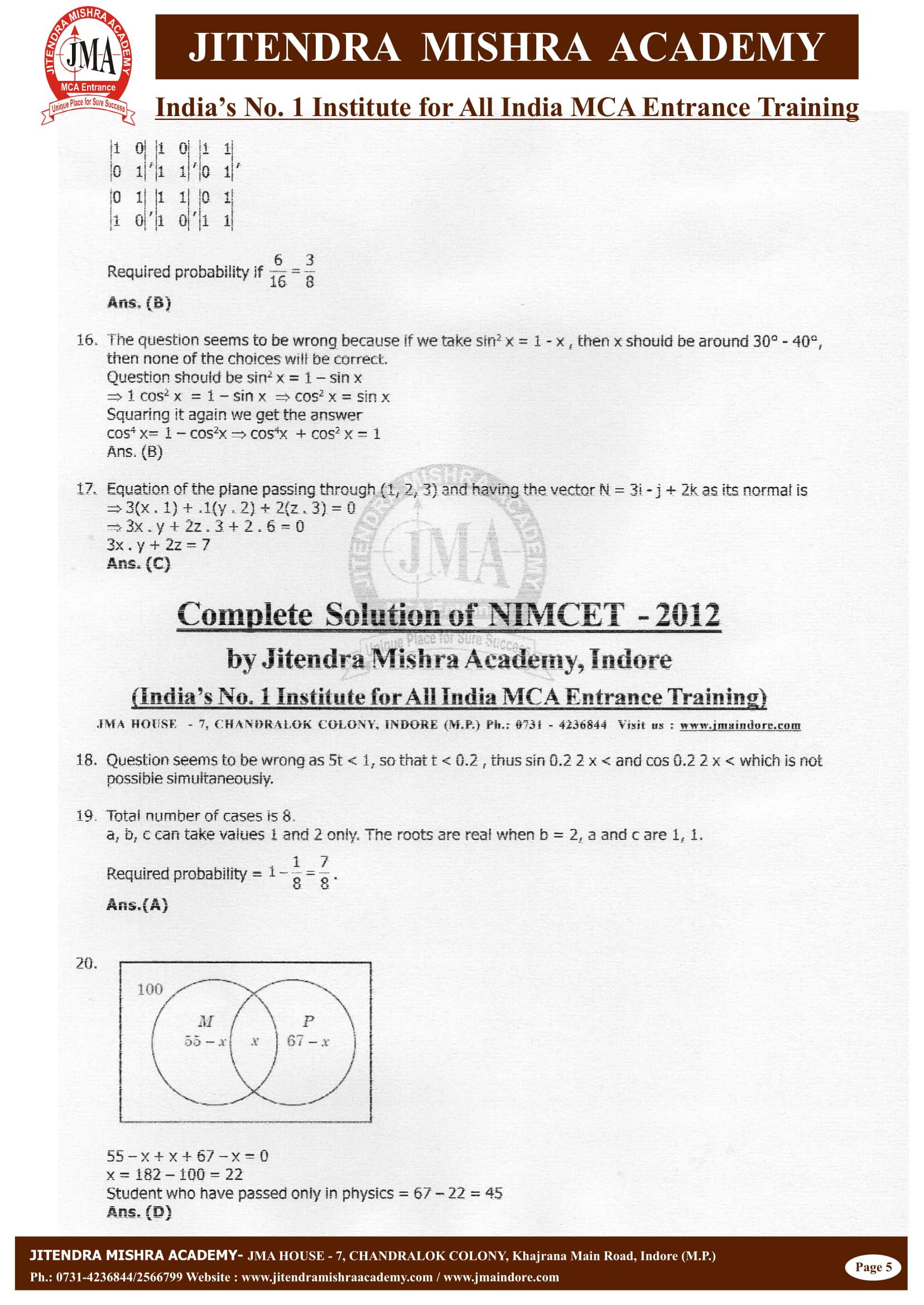 NIMCET - 2012 (SOLUTION)-05