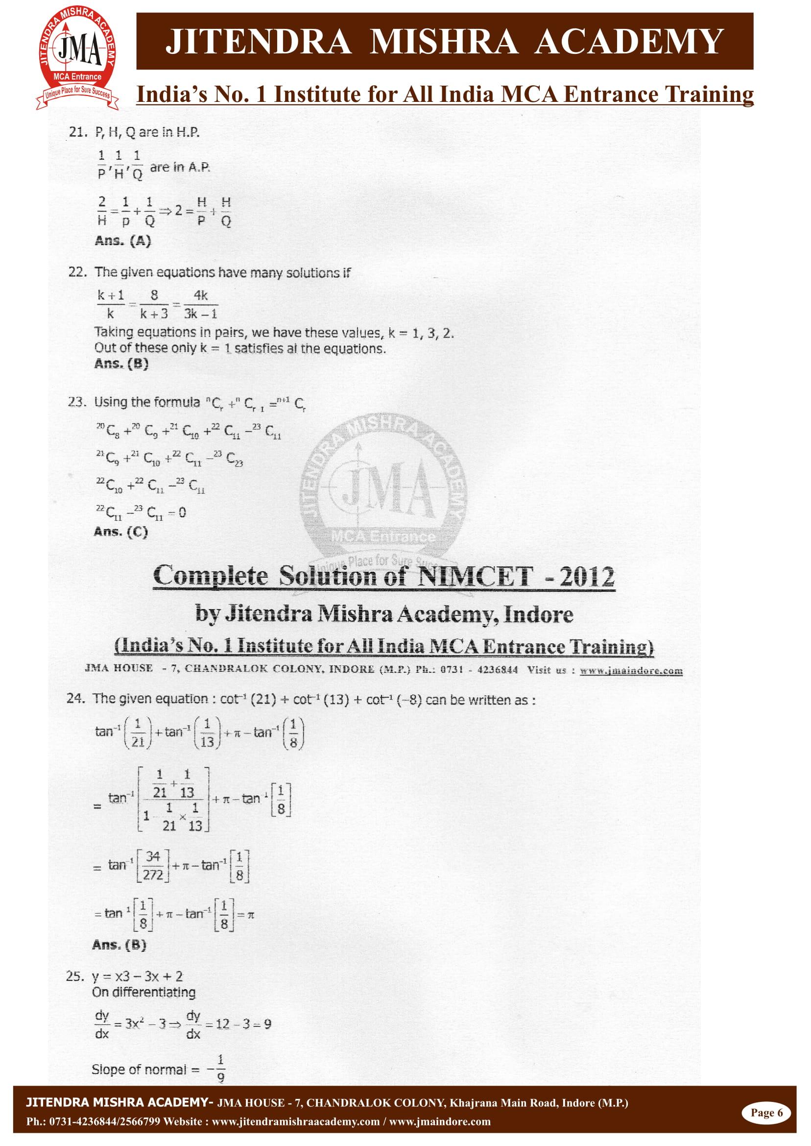 NIMCET - 2012 (SOLUTION)-06