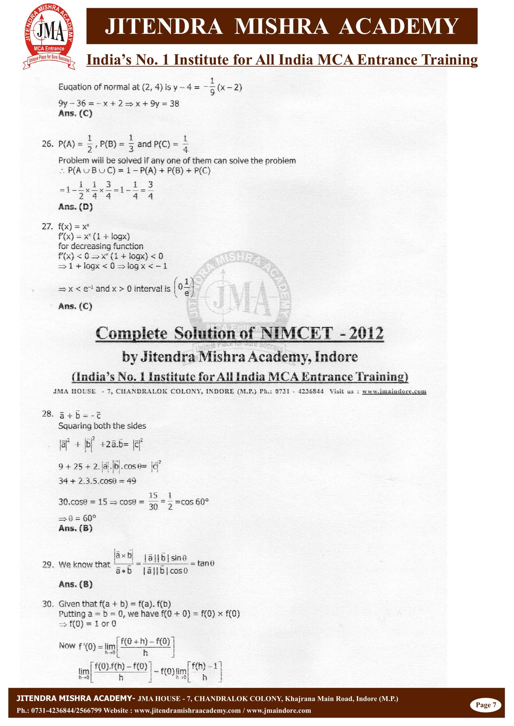 NIMCET - 2012 (SOLUTION)-07