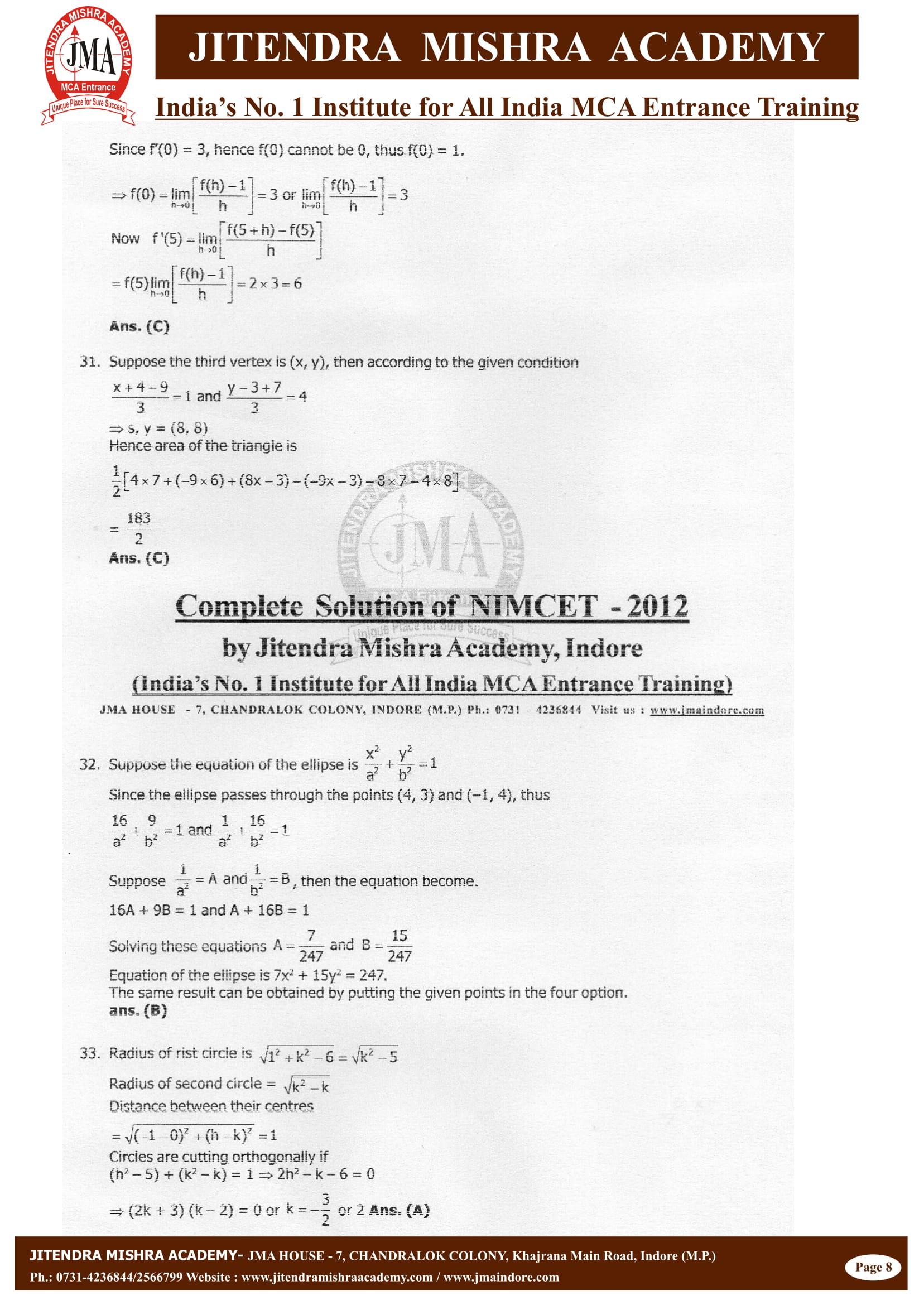 NIMCET - 2012 (SOLUTION)-08