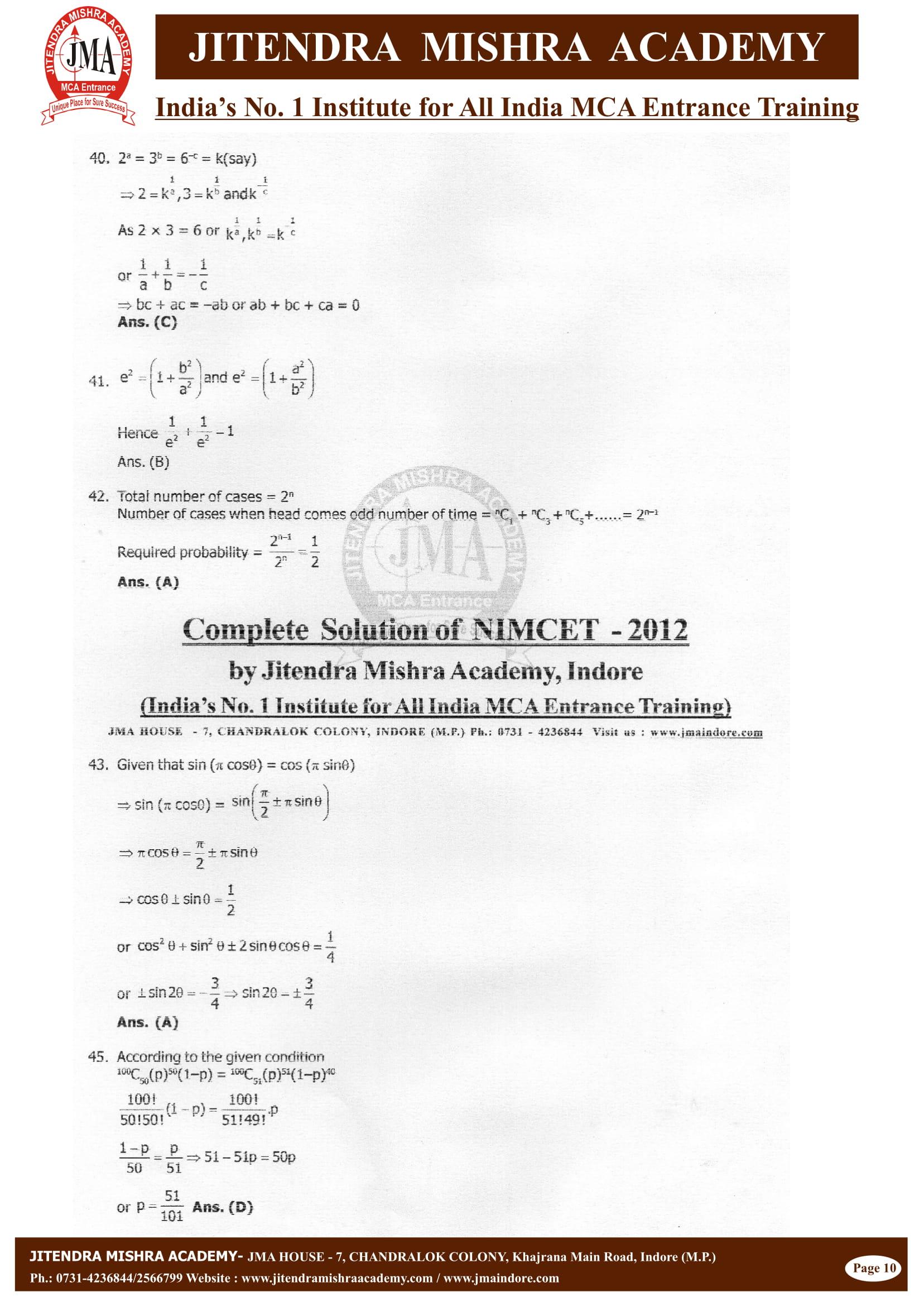 NIMCET - 2012 (SOLUTION)-10