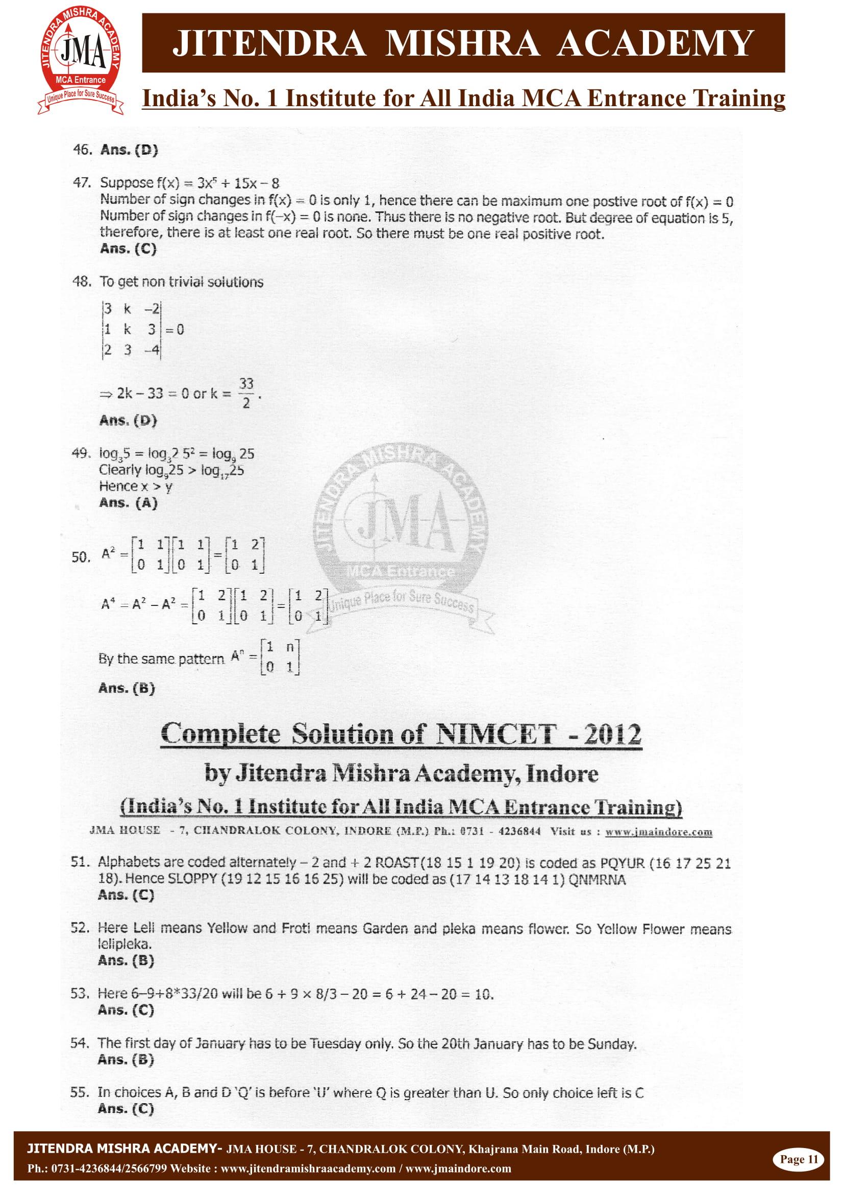 NIMCET - 2012 (SOLUTION)-11