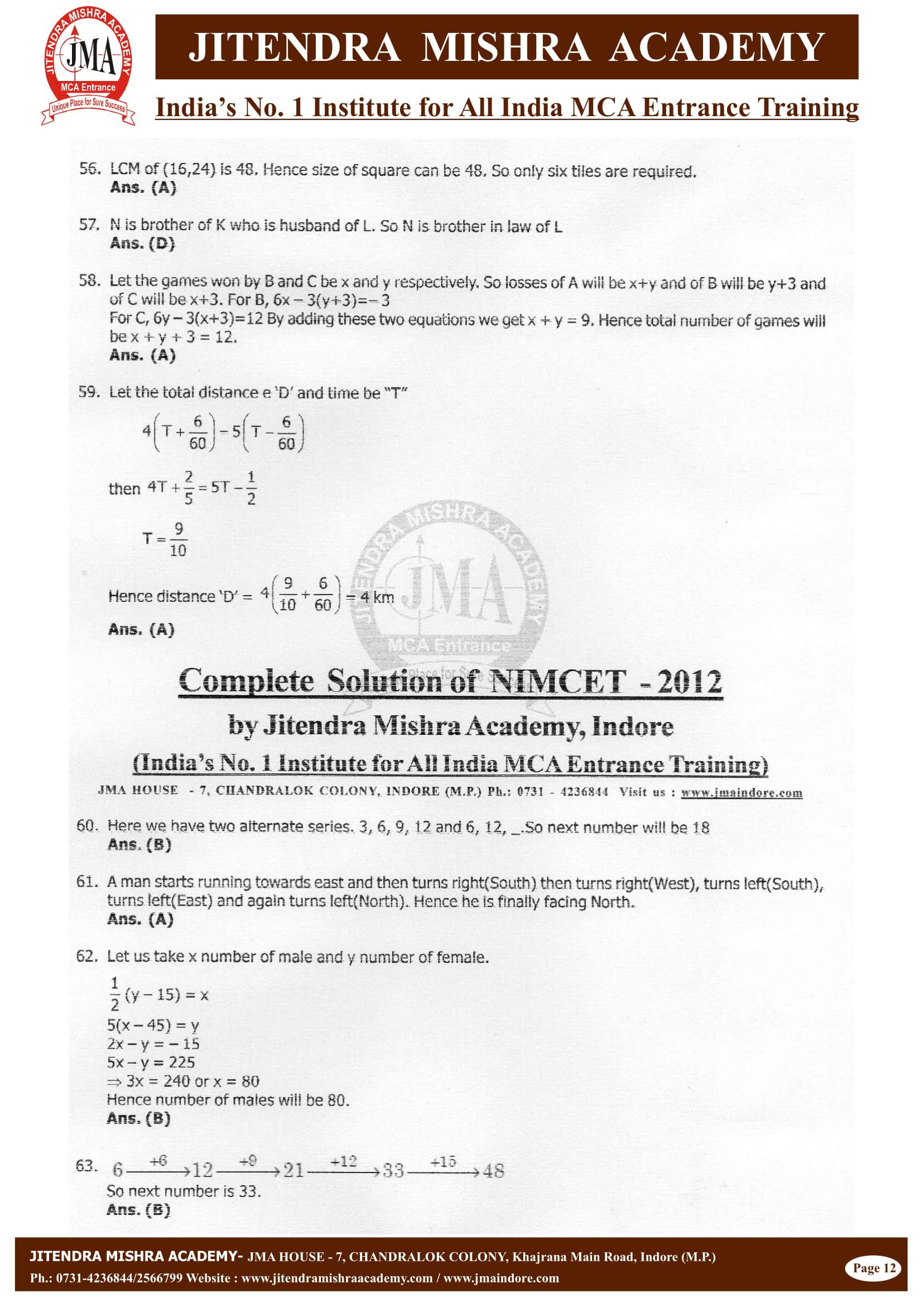 NIMCET - 2012 (SOLUTION)-12