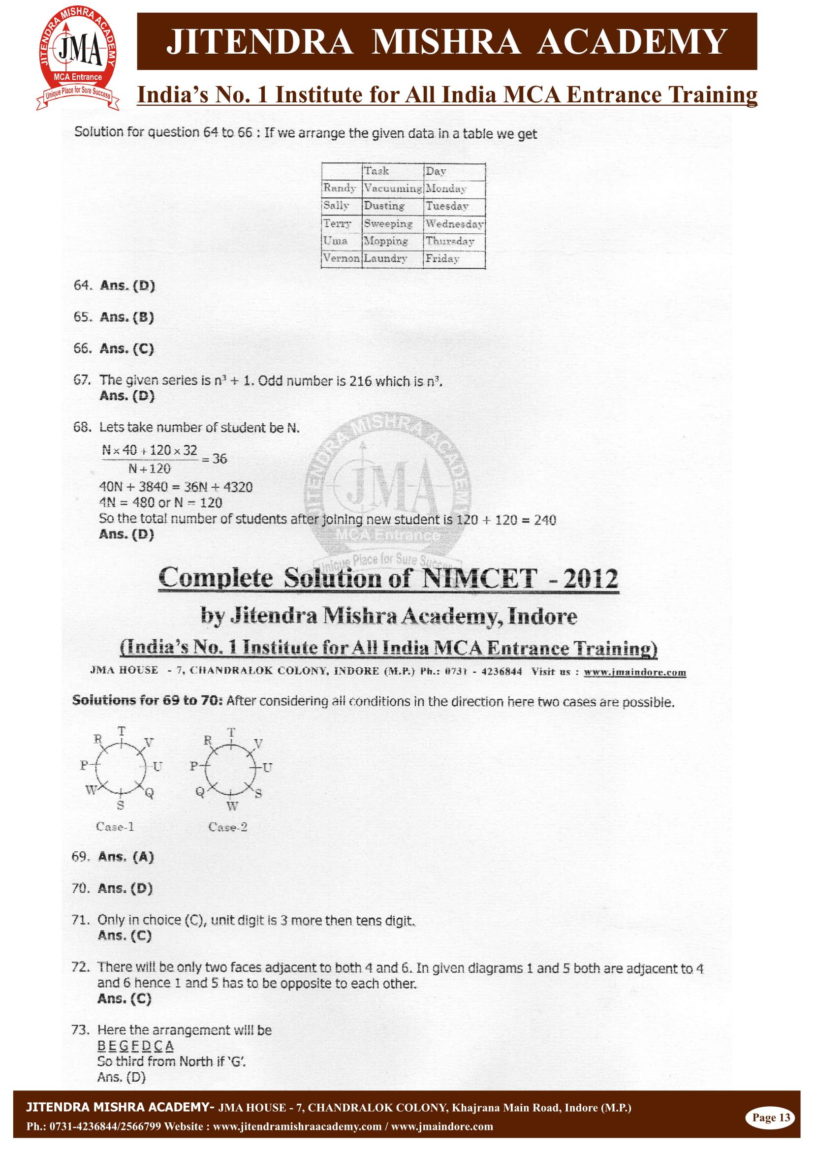 NIMCET - 2012 (SOLUTION)-13