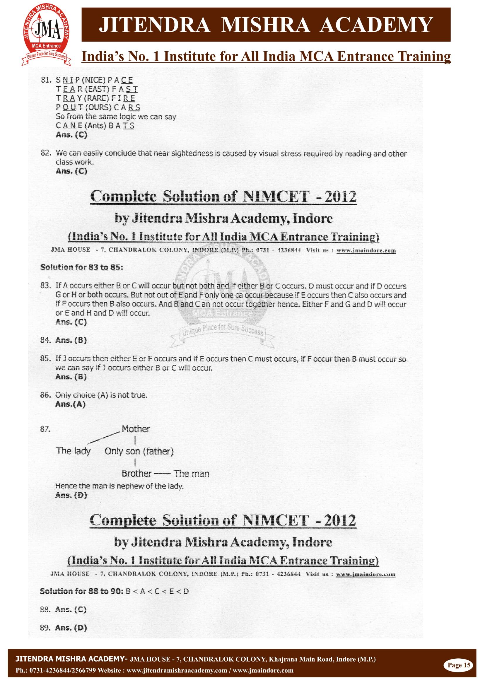 NIMCET - 2012 (SOLUTION)-15