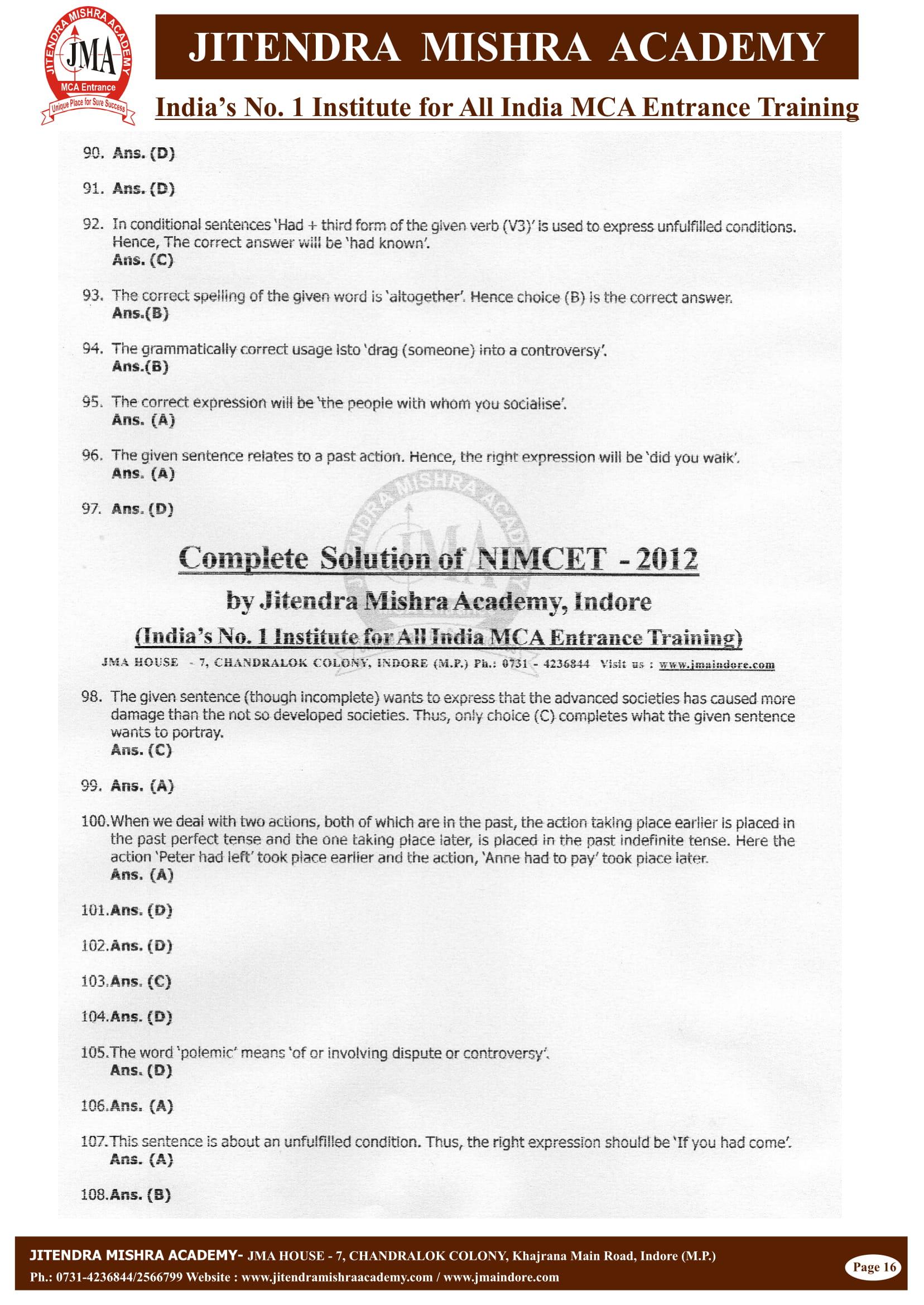 NIMCET - 2012 (SOLUTION)-16