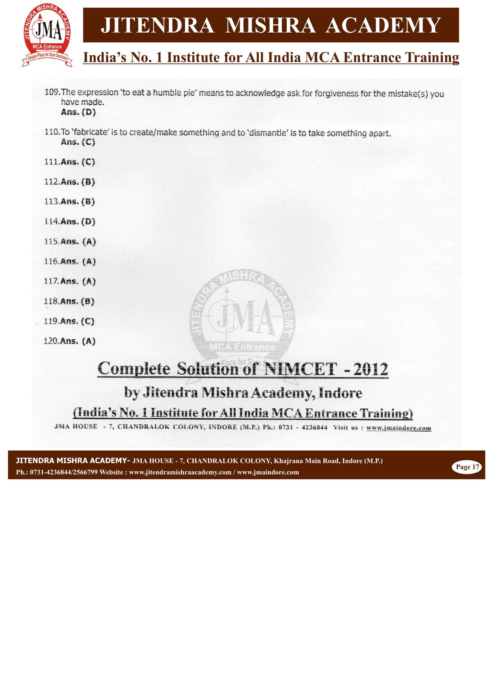 NIMCET - 2012 (SOLUTION)-17