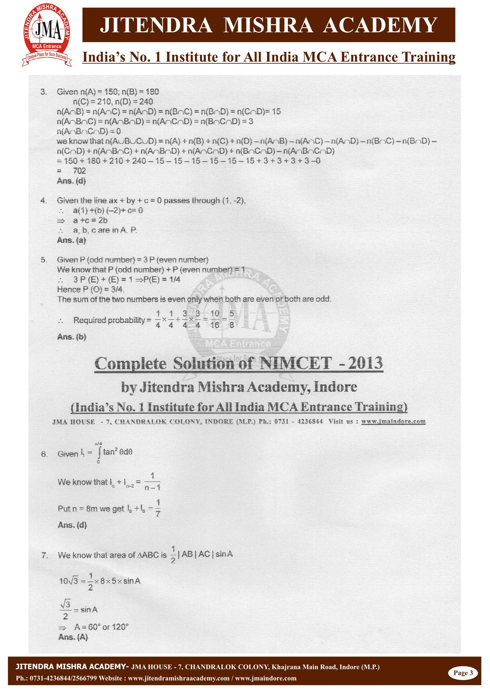 NIMCET - 2013 (SOLUTION)-03