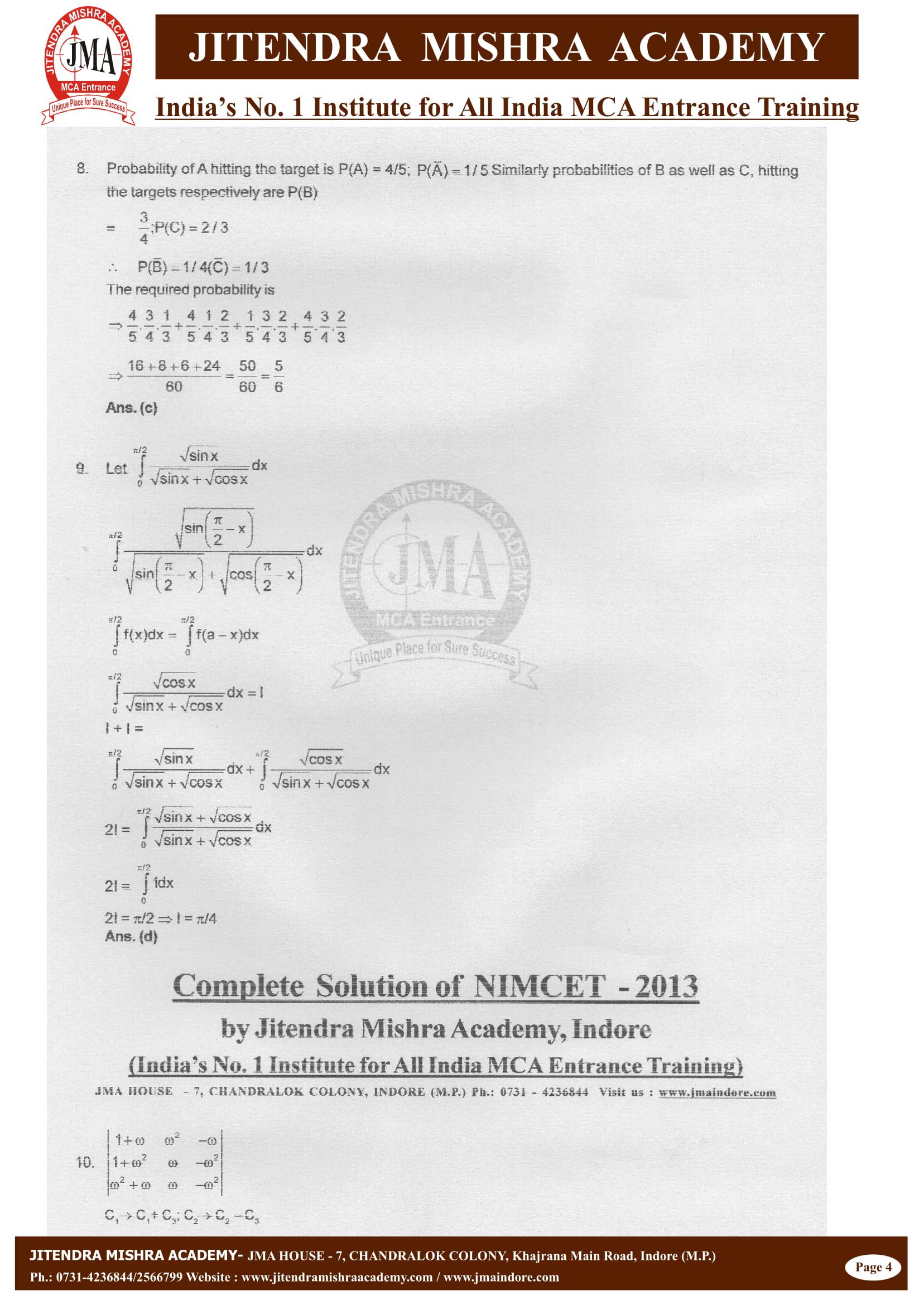 NIMCET - 2013 (SOLUTION)-04