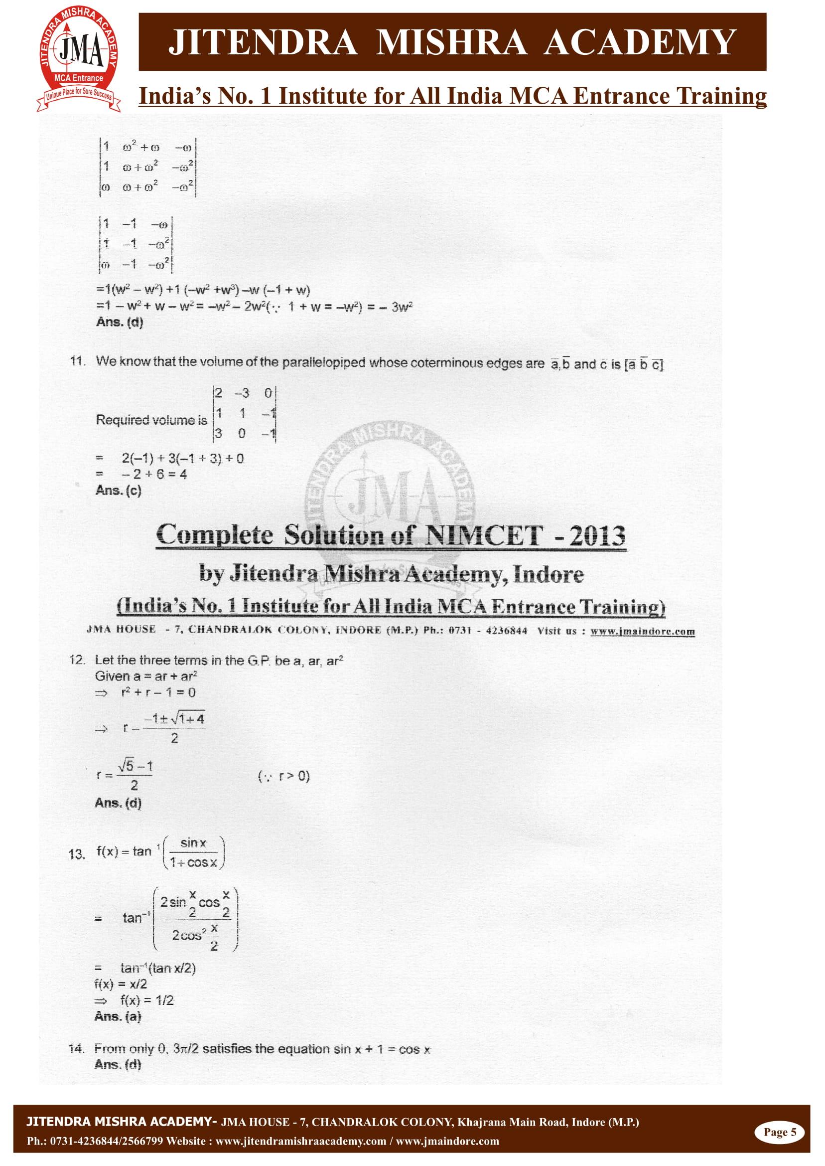 NIMCET - 2013 (SOLUTION)-05