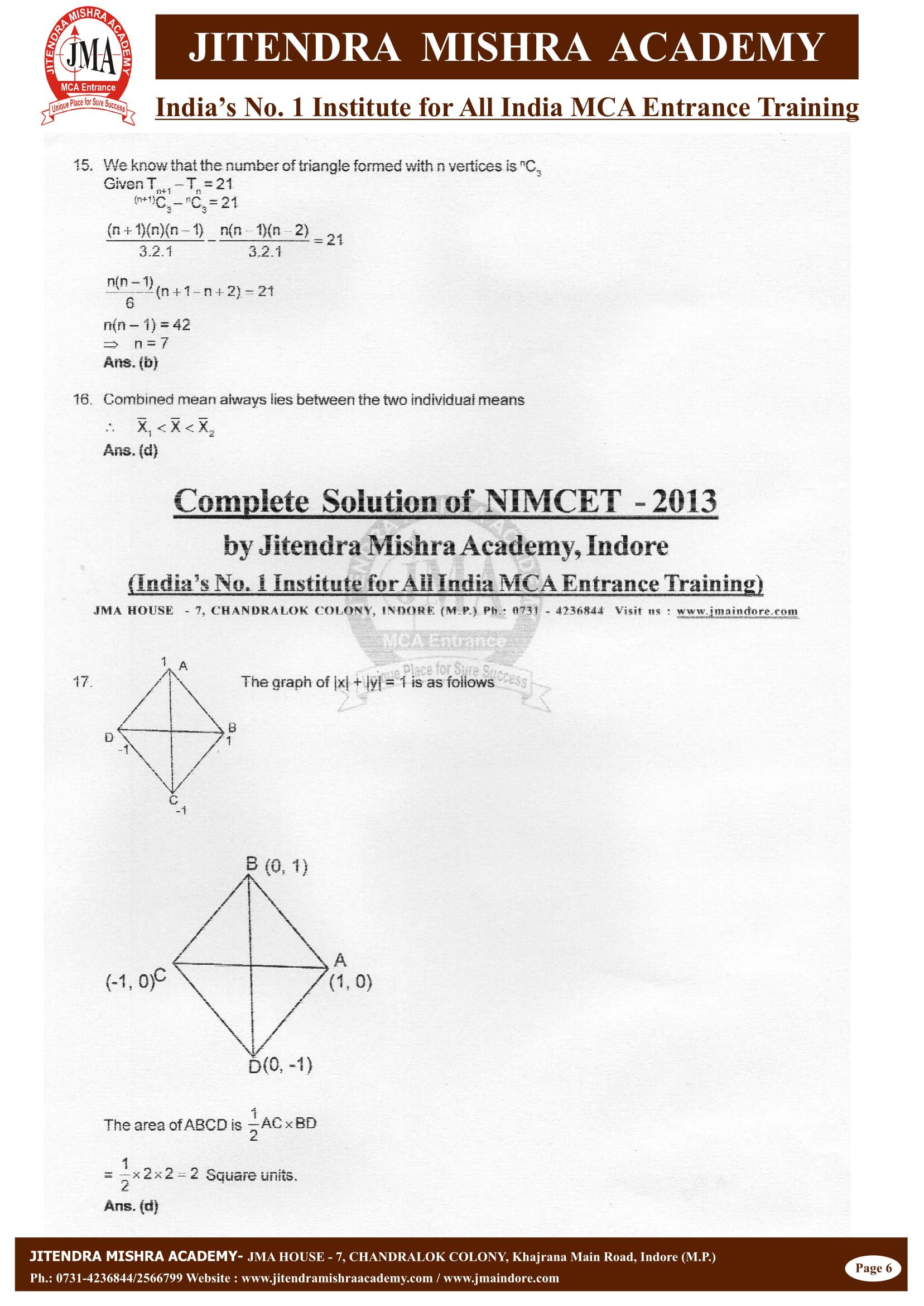 NIMCET - 2013 (SOLUTION)-06