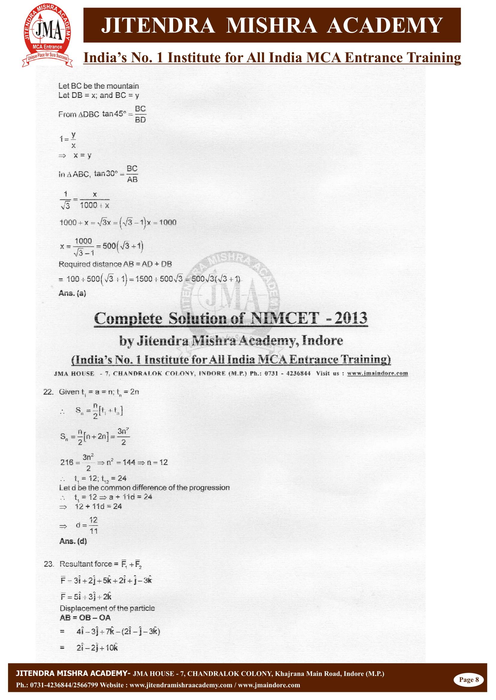 NIMCET - 2013 (SOLUTION)-08