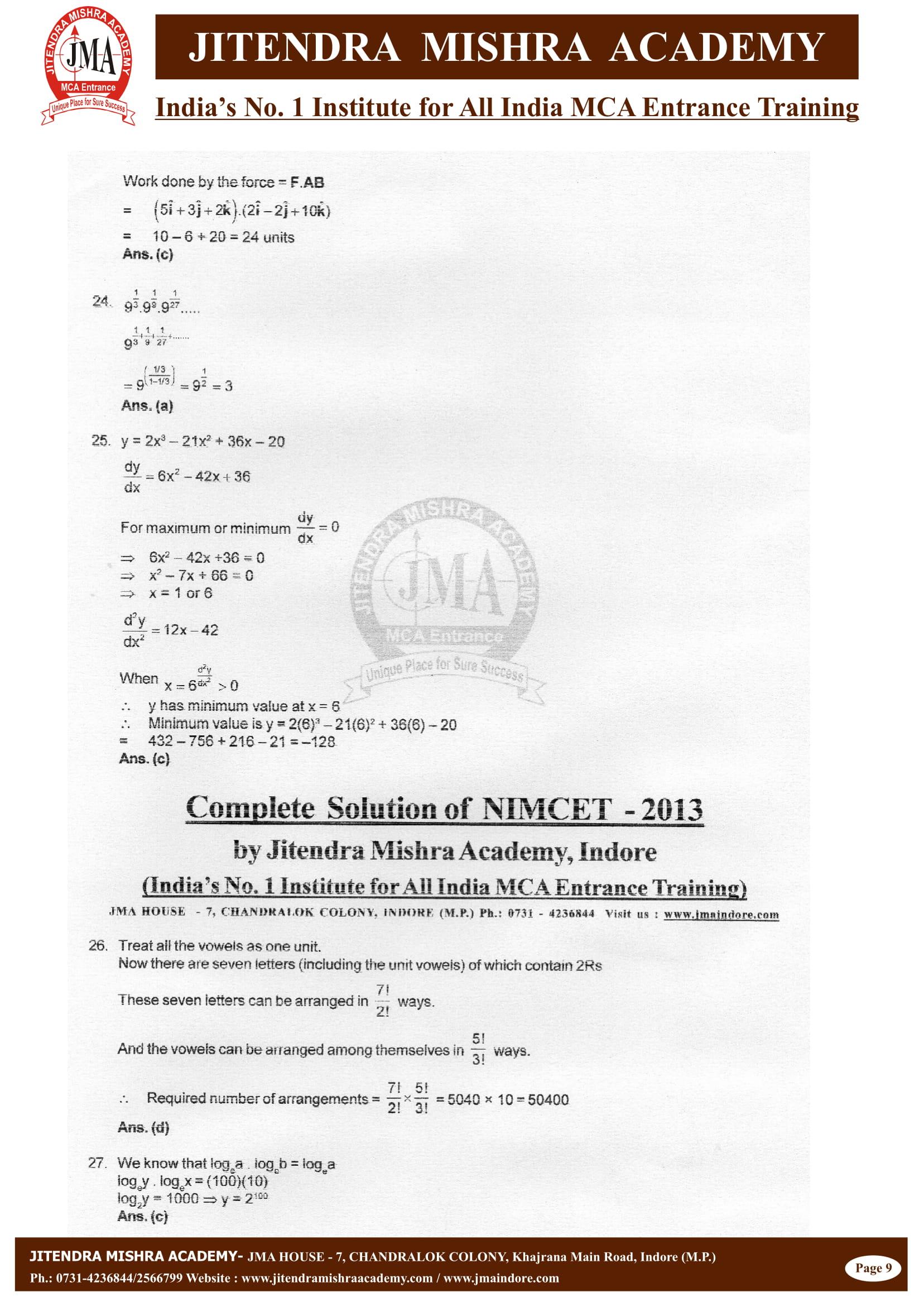 NIMCET - 2013 (SOLUTION)-09