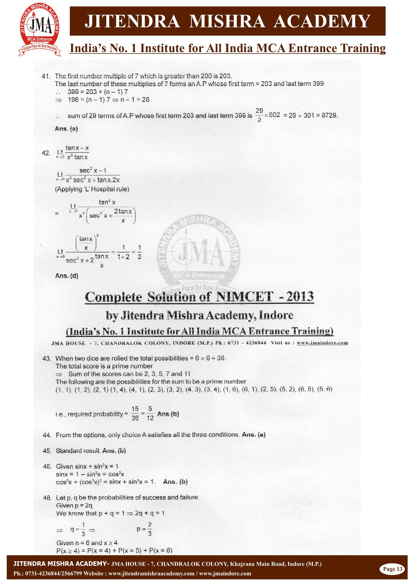 NIMCET - 2013 (SOLUTION)-13