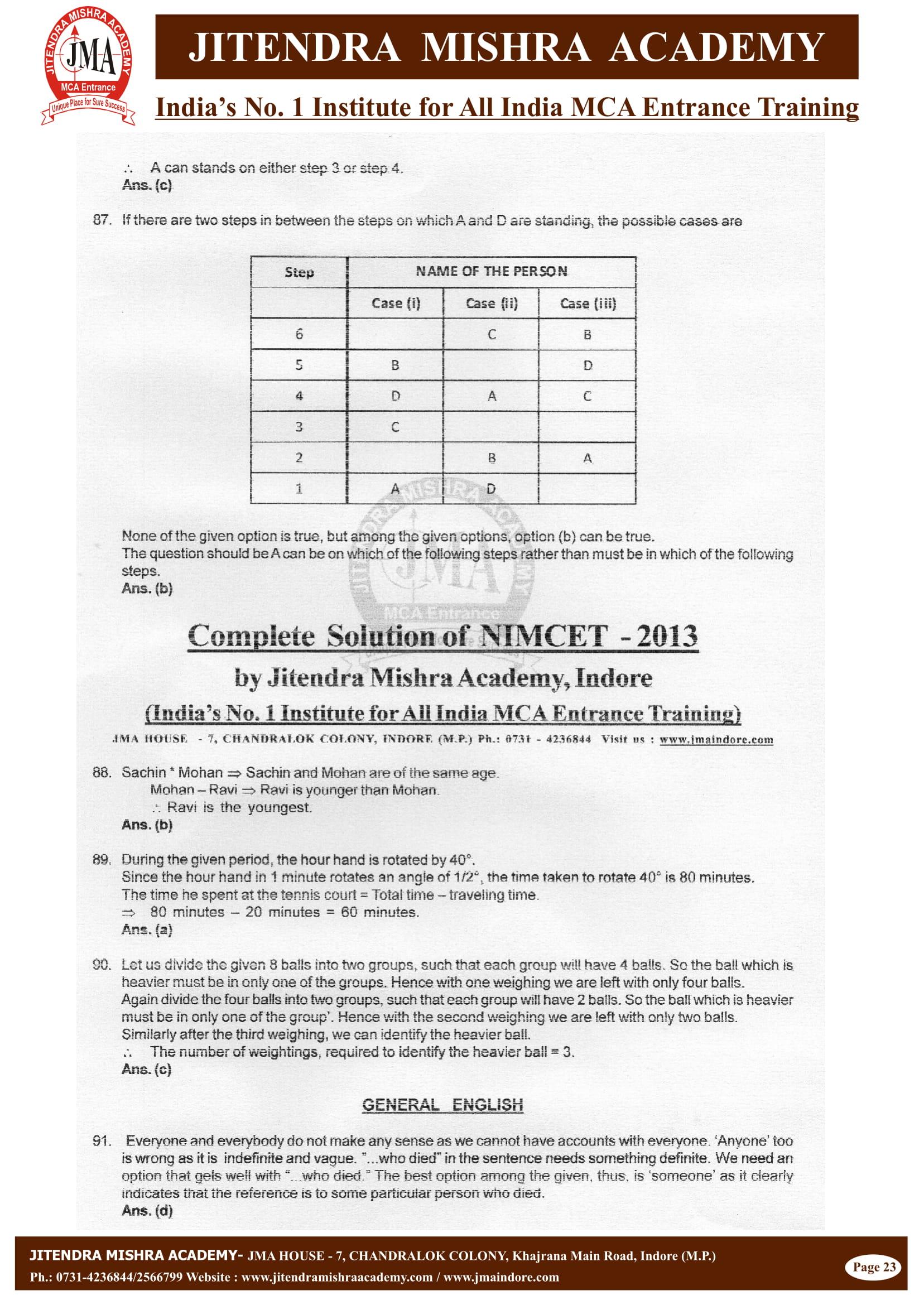 NIMCET - 2013 (SOLUTION)-23