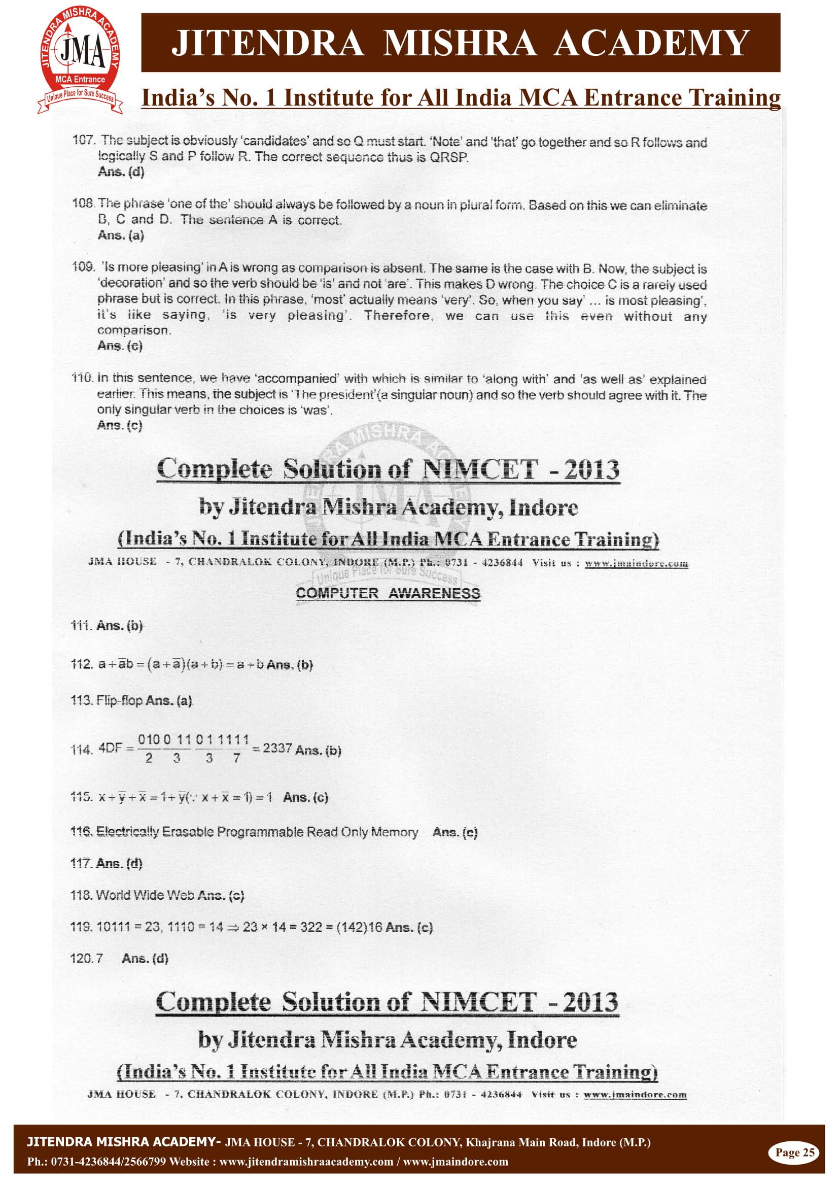 NIMCET - 2013 (SOLUTION)-25