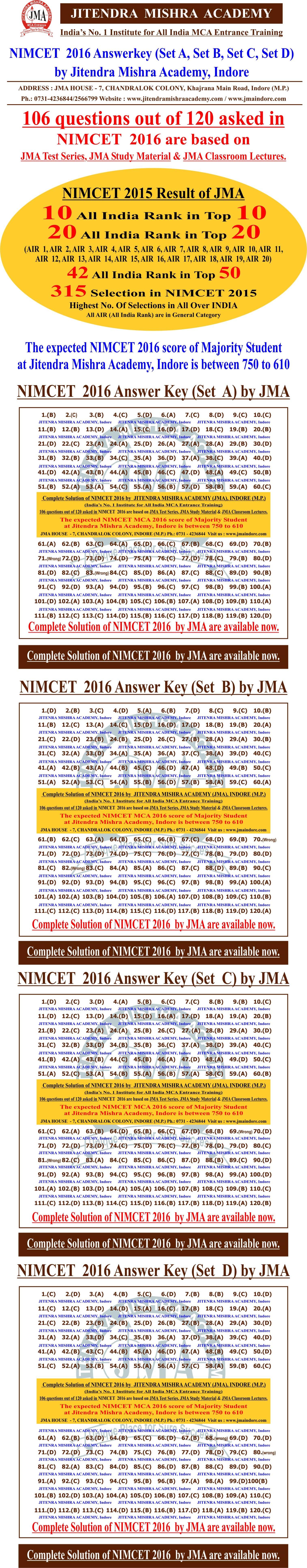 NIMCET  - 2016 answerkey (correcton)