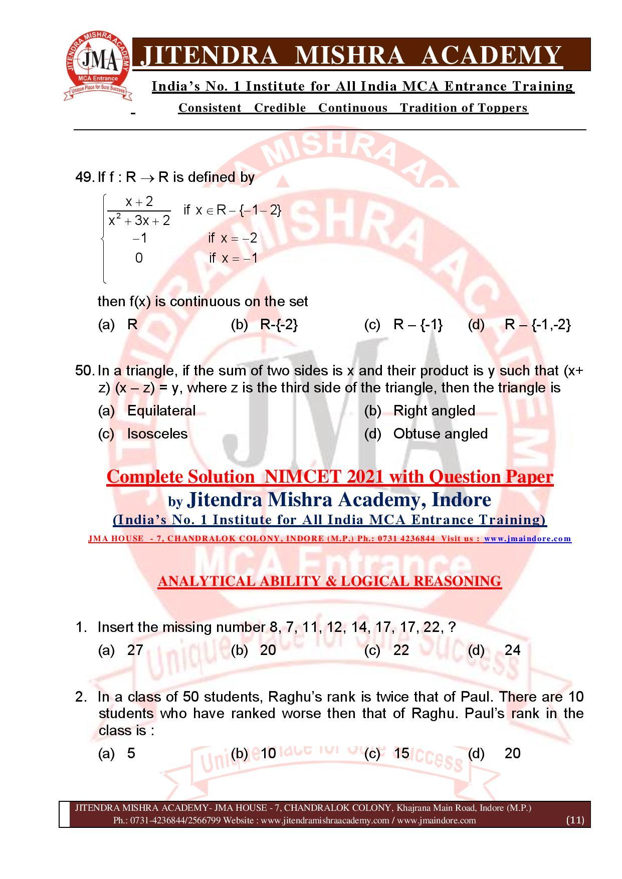 NIMCET 2021 QUESTION PAPER (F)-page-011