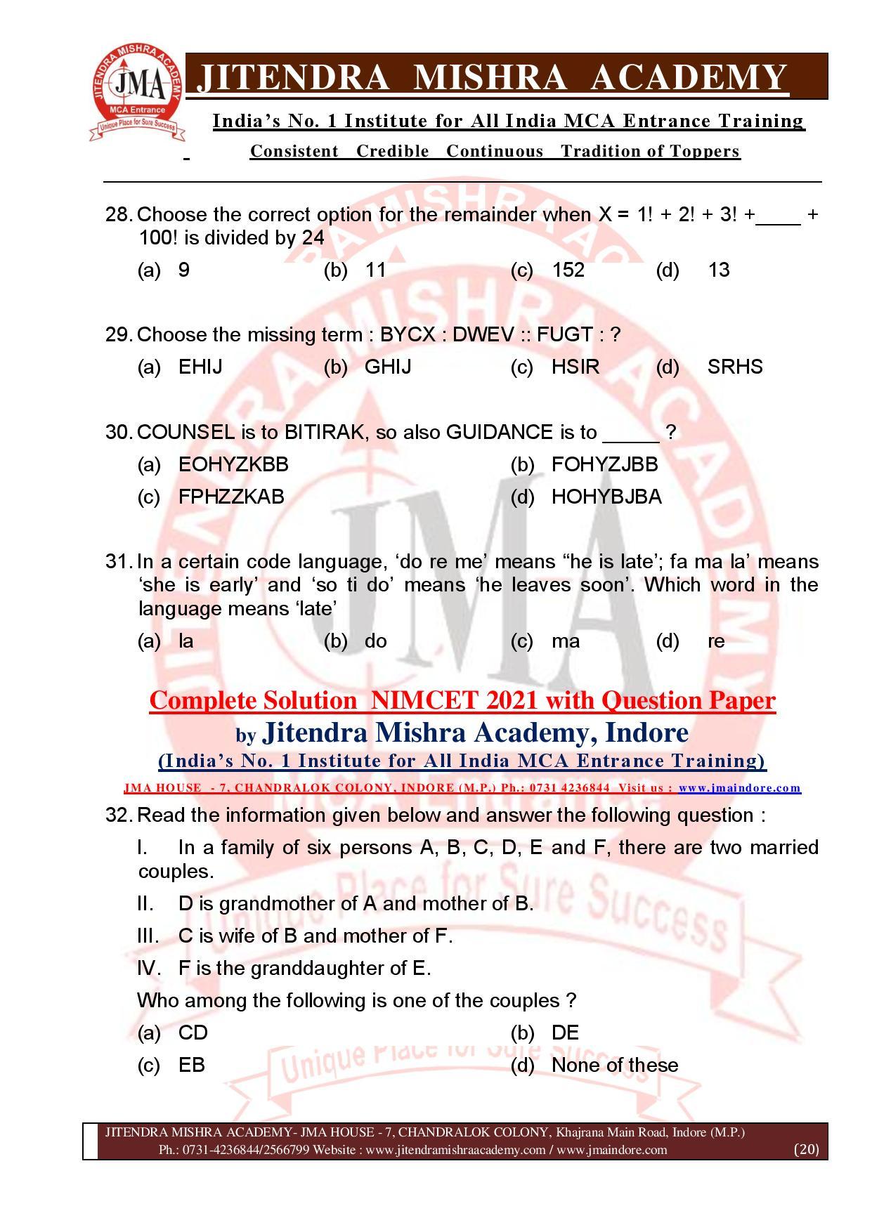 NIMCET 2021 QUESTION PAPER (F)-page-020