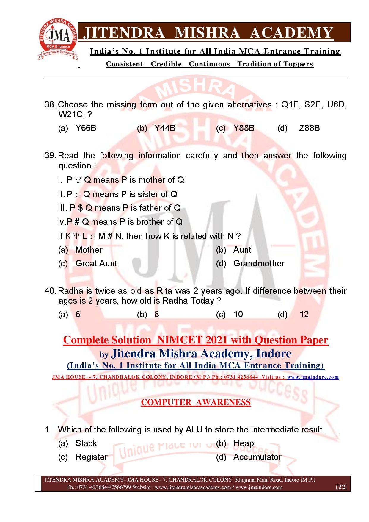 NIMCET 2021 QUESTION PAPER (F)-page-022